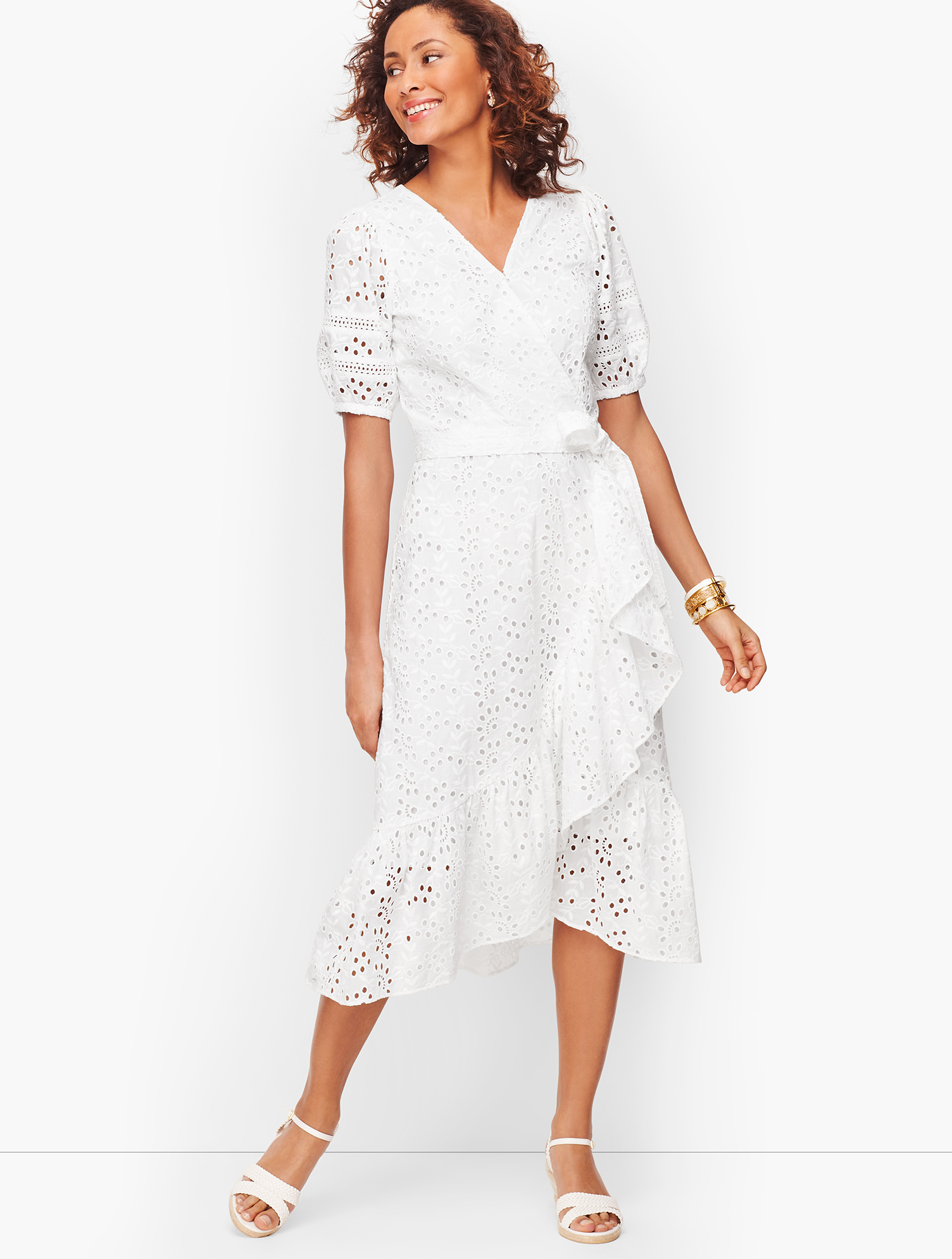 Cottagecore Dresses Aesthetic, Granny, Vintage Eyelet Cascade Wrap Dress - White - 16 - 100 Cotton Talbots $64.99 AT vintagedancer.com