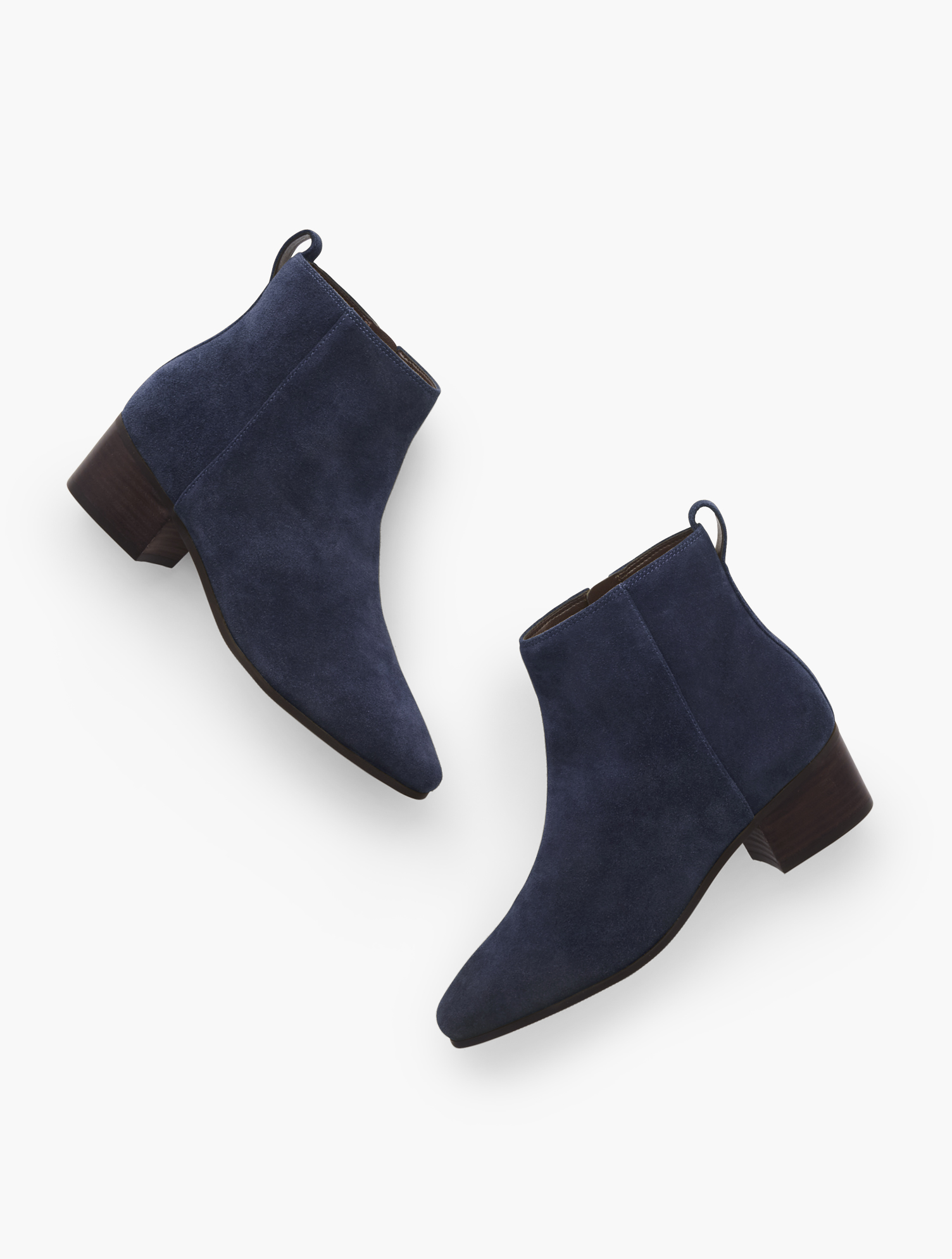Your favorite Dakota ankle boots are back. In rich suede. With block heel and inside zip. Features Gift Box/Gift Wrap is not available for this item Inside side zipper 1 3/4 inches heel Almond toe 3MM Memory Foam Footbed Imported Material: 100% Leather Dakota Ankle Boots - Suede - Blue - 11M Talbots