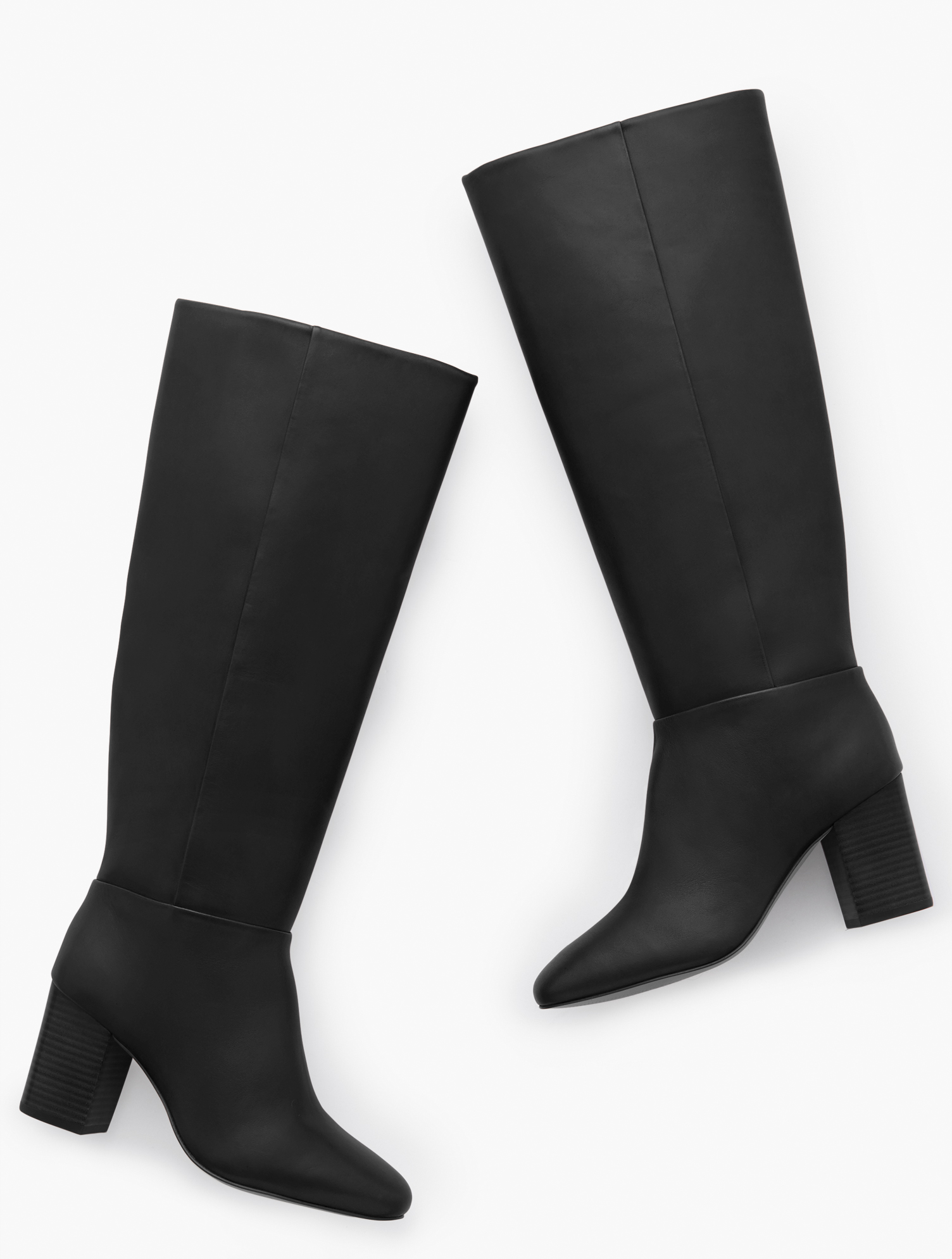 Our Darcy Tall Boots in luxurious Nappa leather look great dressed up or down. Also available in Extended Calf. Features 3MM Memory foam footbed 3 inches heel Round Toe Imported Material: 100% Leather Darcy Tall Nappa Boots - Black - 11M Talbots