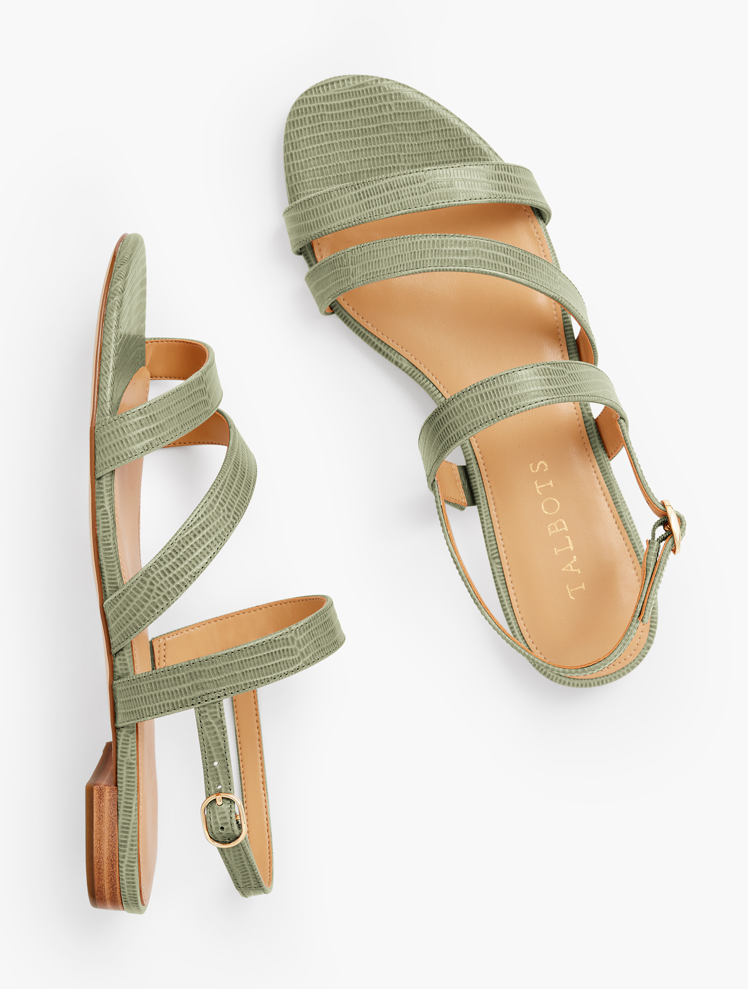 Our Keri Multi Strap Sandals. Ultra chic. Ultra comfortable. With memory foam footbed. Features Gift Box/Gift Wrap is not available for this item 1/2 inches heel Flexible Non Skid Outsole 9k Shiny Gold Hardware 3Mm Memory Foam Footbed Imported Material: 100% Leather Keri Multi Strap Sandals - Sagebrush - 9M Talbots