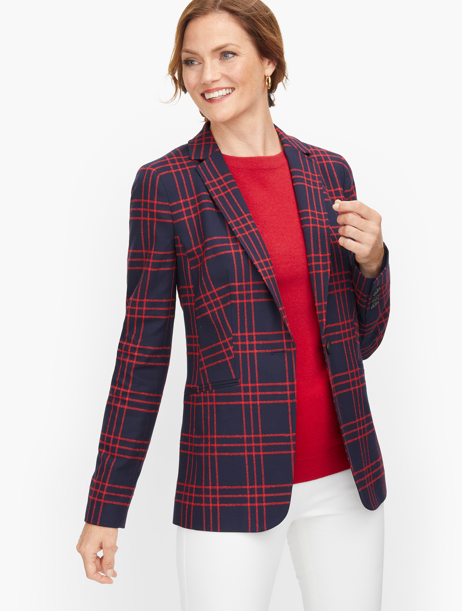 1940s Style Coats and Jackets for Sale Bouclé Windowpane Blazer - Red - 16 Talbots $129.99 AT vintagedancer.com