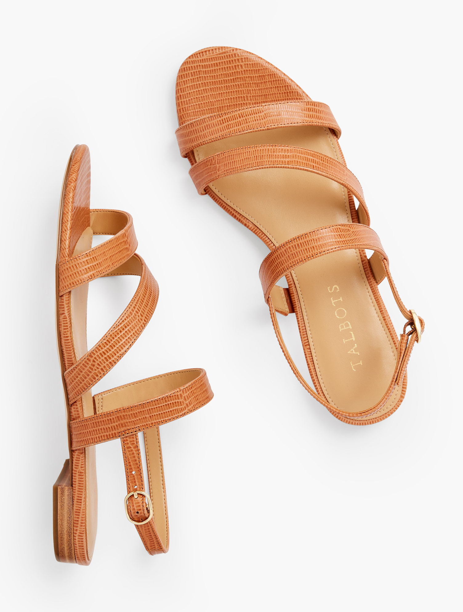 Our Keri Multi Strap Sandals. Ultra chic. Ultra comfortable. With memory foam footbed. Features Gift Box/Gift Wrap is not available for this item 1/2 inches heel Flexible Non Skid Outsole 9k Shiny Gold Hardware 3Mm Memory Foam Footbed Imported Material: 100% Leather Keri Multi Strap Sandals - Havana Tan - 7-1/2M Talbots