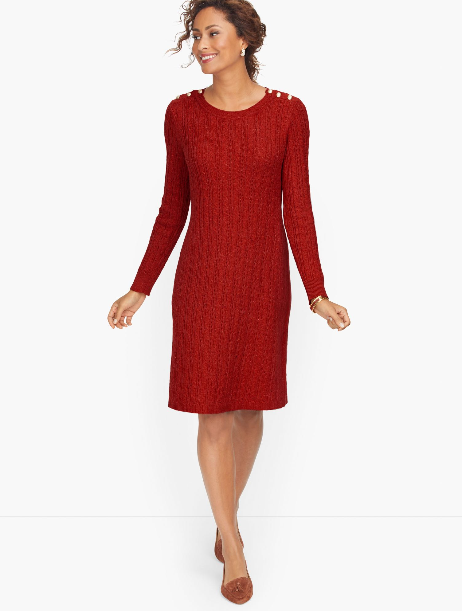Nothing says cozy like a sweater dress. Iconic cable stitch keeps it classic. Buttons at the shoulders add charm. Features Silhouette: Sheath Neckline: Jewel Sleeve Length: Long Closure: Pullover Imported Fit: Misses: 37 1/2 inches; Petite: 36 inches Material: 57% Cotton, 28% Acrylic, 15% Polyester Care: Machine Wash Cold, Reshape/Lay Flat to Dry Cableknit Button Shoulder Sweater Dress - Rich Russet Tweed - XL Talbots