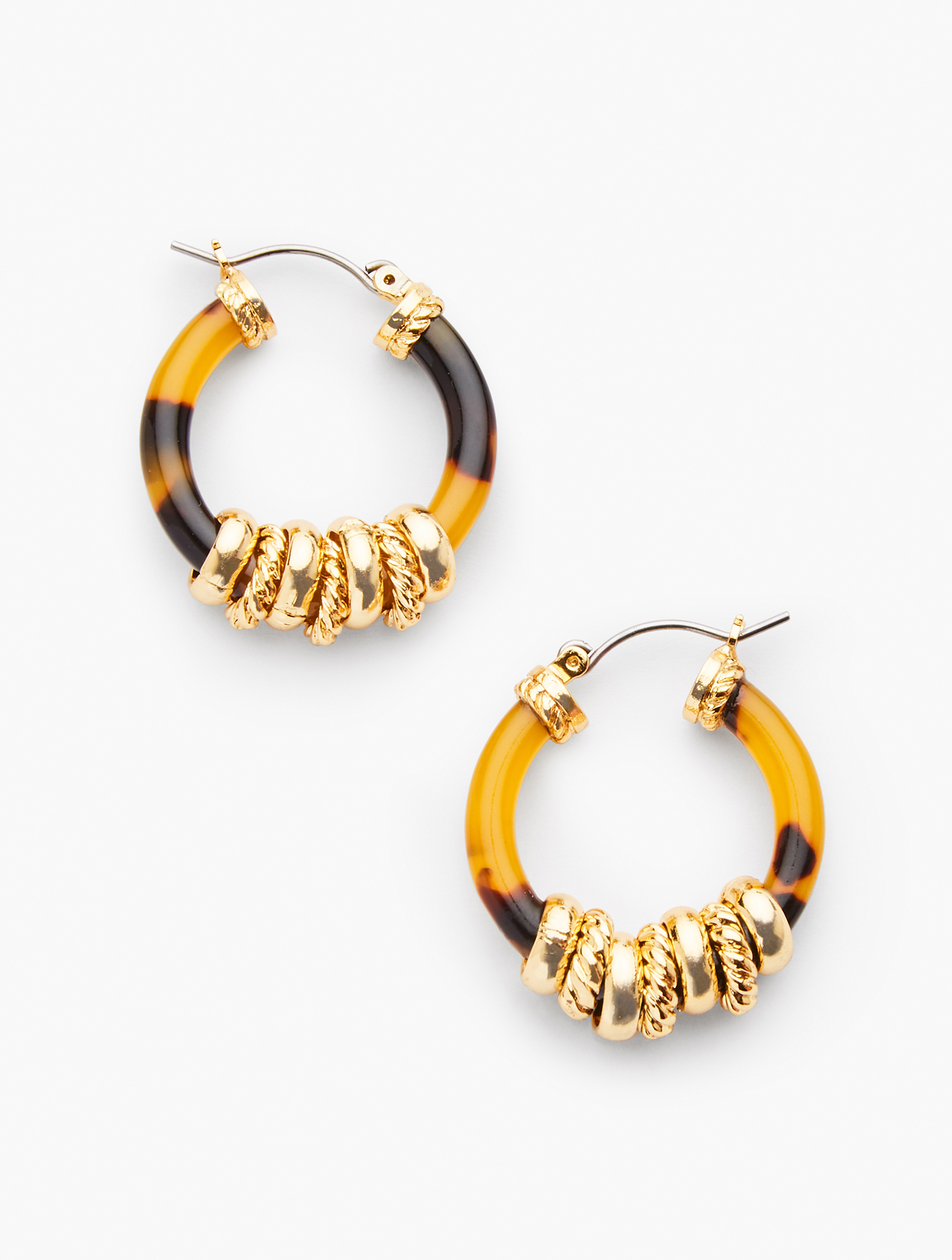 Tortoise hoops adorned with precious gold discs. Pair with our Tortoise & Gold Beaded Necklace. Features Clasp: Post Imported Fit: 1 1/2 inches Material: 60% Zinc, 39% Acetate, 1% CZ Tortoise & Gold Hoop Earrings - Tortoise/Gold - 001 Talbots