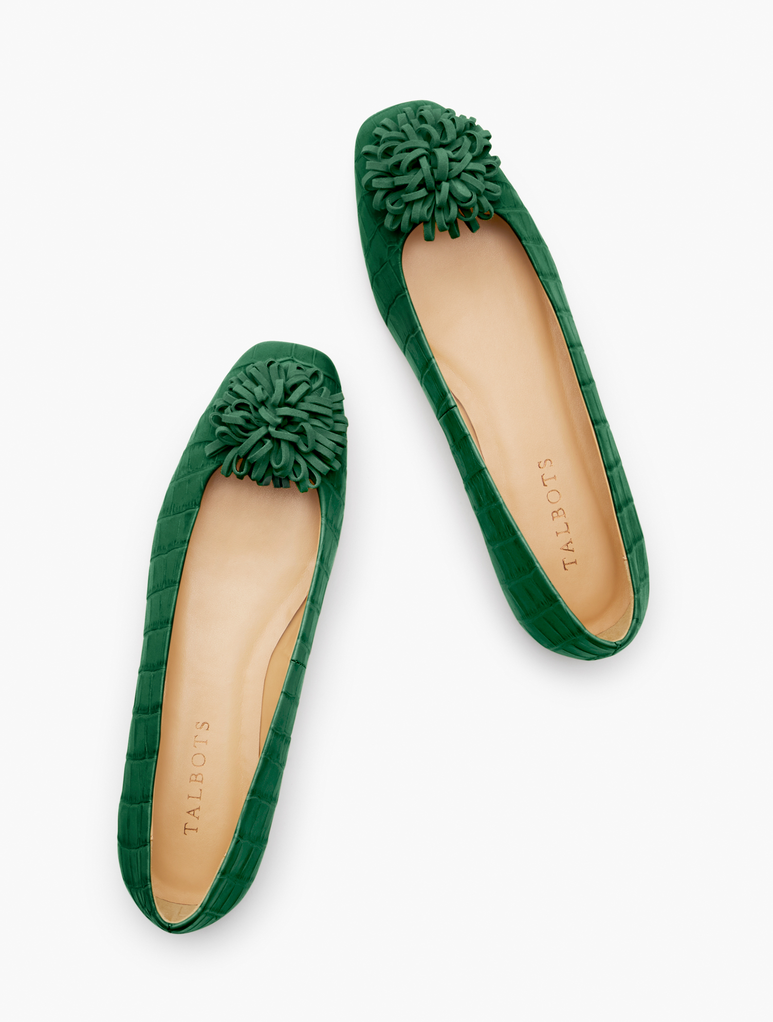 Retro Vintage Flats and Low Heel Shoes Stella Pom Pom Flats - Embossed Croc - Green - 8M Talbots $54.99 AT vintagedancer.com