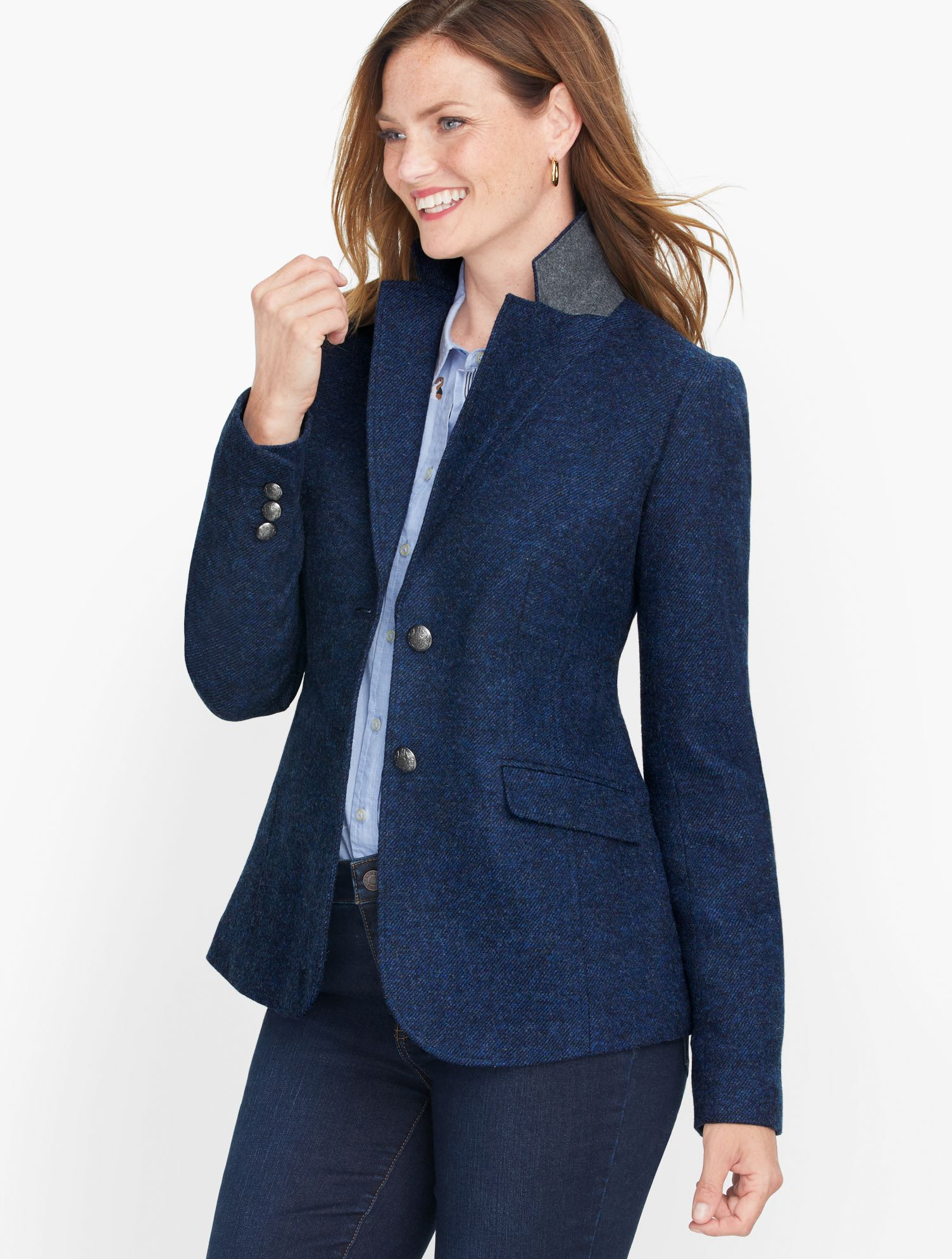 1940s Style Coats and Jackets for Sale Classic Shetland Blazer - Twill - Mills Deep Blue - 16 Talbots $179.00 AT vintagedancer.com