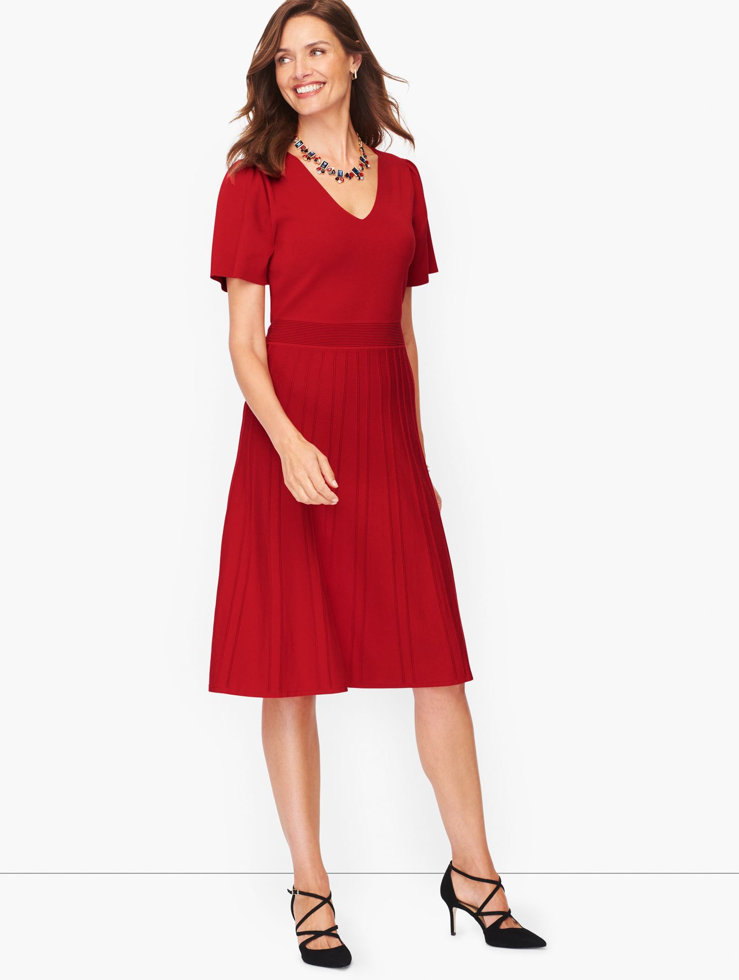 Vintage Style Dresses | Vintage Inspired Dresses Flutter Sleeve Fit  Flare Dress - Red - 3X Talbots $169.00 AT vintagedancer.com