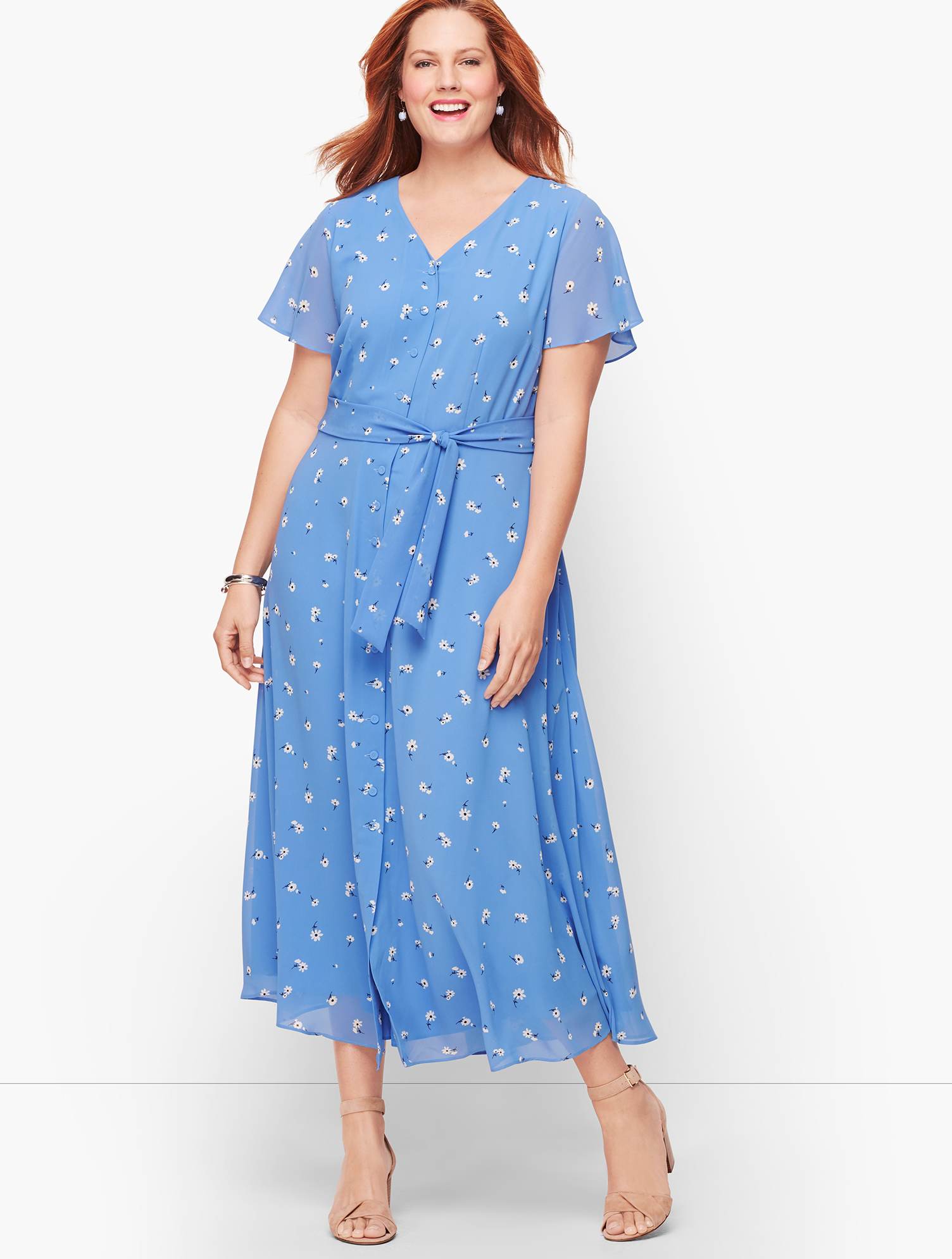 1930s Style Clothing and Fashion Scattered Floral Tie Front Midi Dress - Blue Wave - 22 Talbots $129.99 AT vintagedancer.com