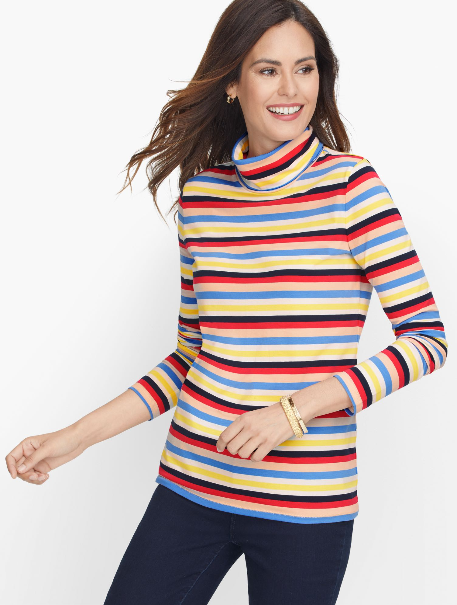 Our coziest turtleneck. Colorfully striped. Crafted from pure cotton with a touch of spandex. Features Neckline: TurtleSleeve length: LongHits: At hipImported Fit: Misses: 25 inches, Petite: 24 inches, Plus: 27 inches, Plus Petite:25.5 inches Material: 95% Cotton, 5% Spandex Care: Machine Wash, Tumble Dry Cotton Turtleneck - Multi Stripe - Ivory - 3X Talbots
