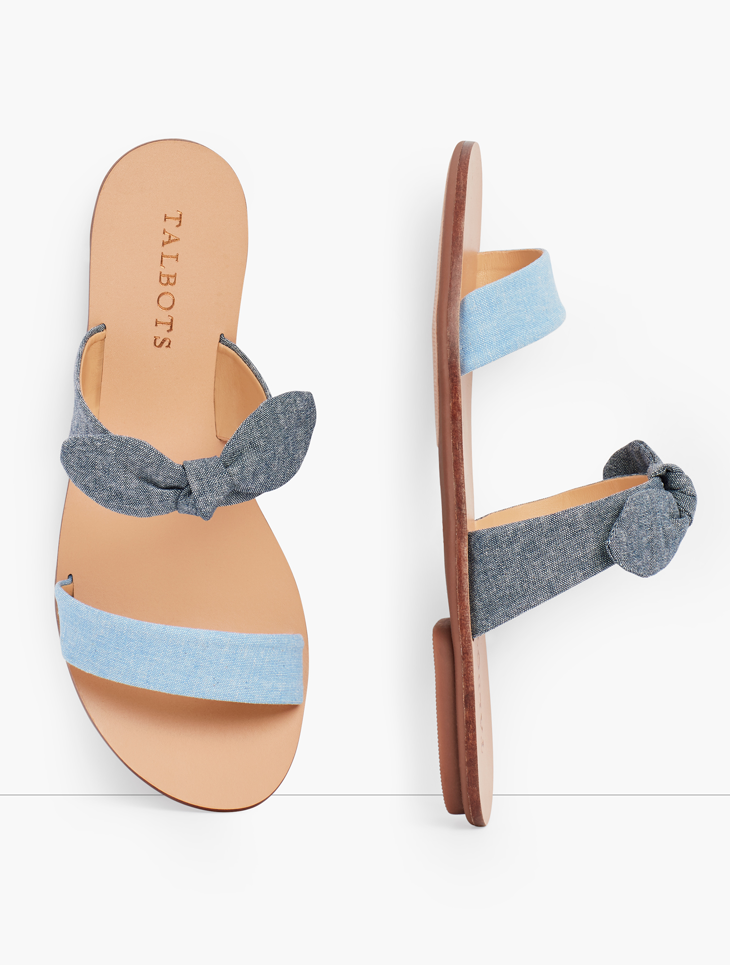 Easy-to-wear slides. On-trend chambray. With a fun knotted detail for extra style. features Gift Box/Gift Wrap is not available for this item 1/3 inches Heel Rubber Sole Imported Material: 100% cotton Hannah Knotted Slides - Chambray - Light Chambray/Dk Chambray - 11M - 100% Cotton Talbots