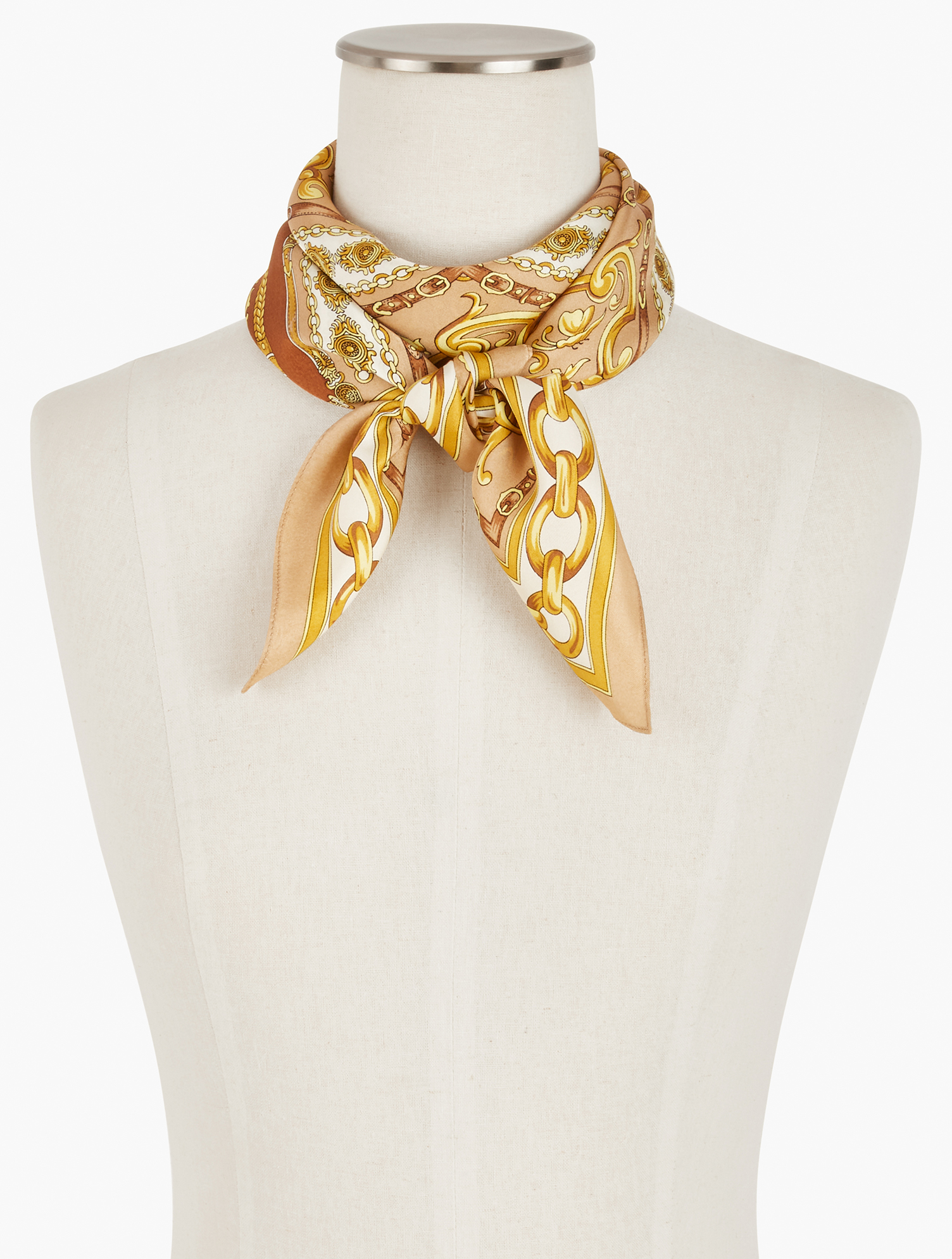 A perfect square of silk. Tie around your neck, hair, wrist, or favorite handbag. Features Square ScarfImported Fit: 34 inches x 34 inches Material: 100% Silk Care: Dry Clean Silk Square Status Scarf - Toasted Coconut - 001 Talbots