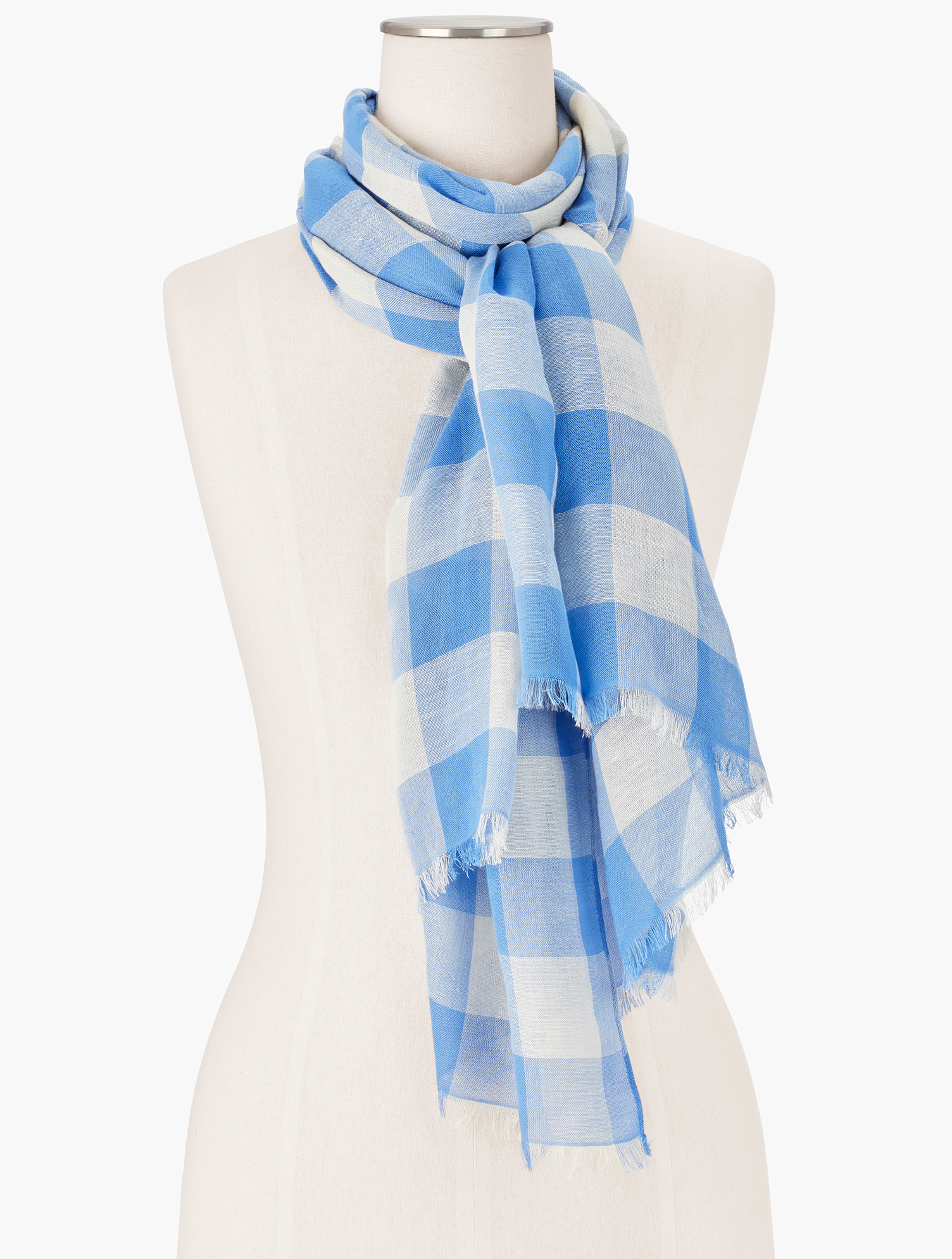 Classic gingham check elevates any outfit. Features Imported Fit: 27 inches X 72 inches Material: 65% Rayon, 35% Cotton Care: Hand Wash; Line Dry Spring Gingham Oblong Scarf - Blue Wave - 001 Talbots