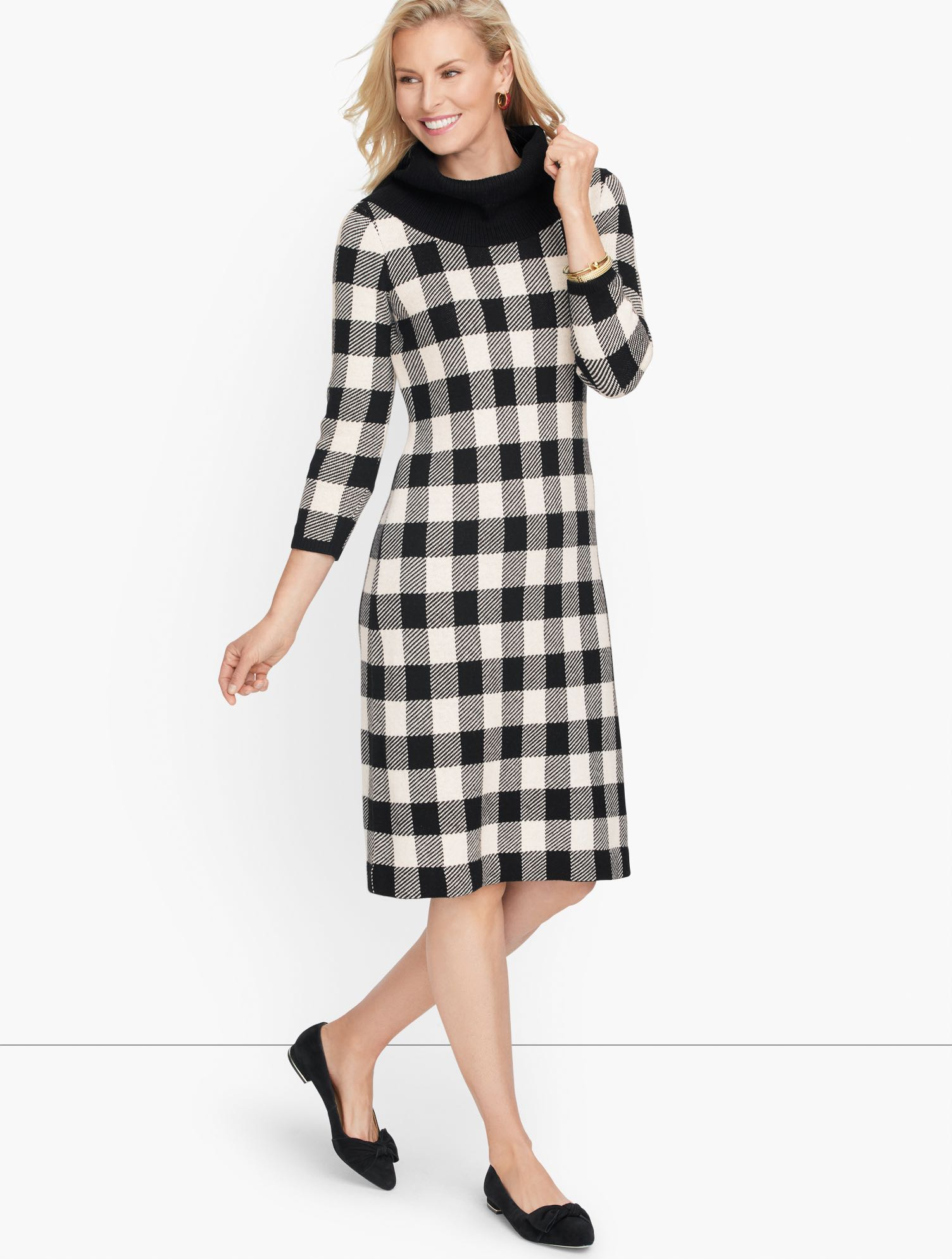 Vintage Style Dresses | Vintage Inspired Dresses Super soft Buffalo Check Shift Dress - BlackIvory - 3X Talbots $149.00 AT vintagedancer.com