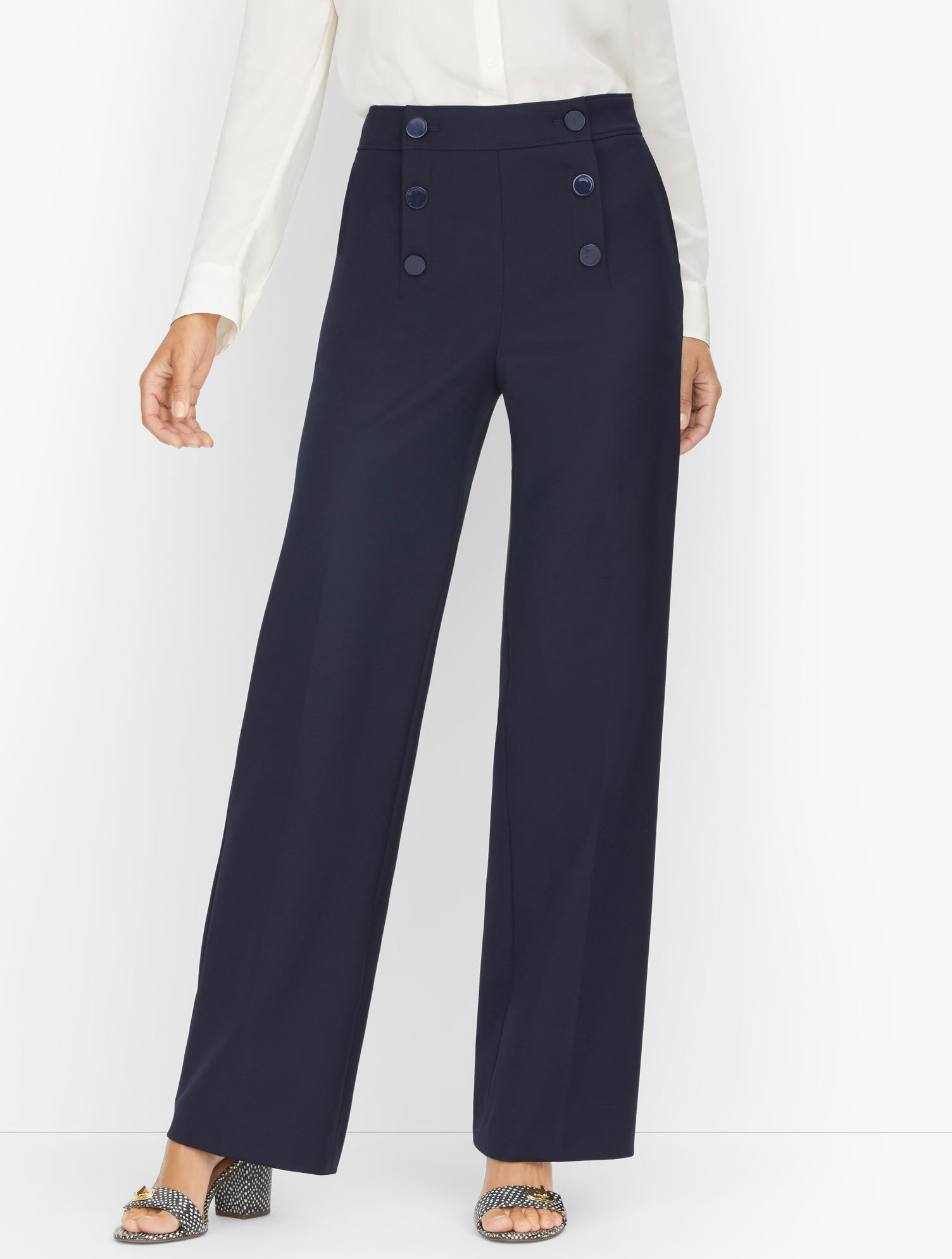 1930s Style Clothing and Fashion Wide Leg Sailor Pants - Blue - 16 Talbots $89.99 AT vintagedancer.com