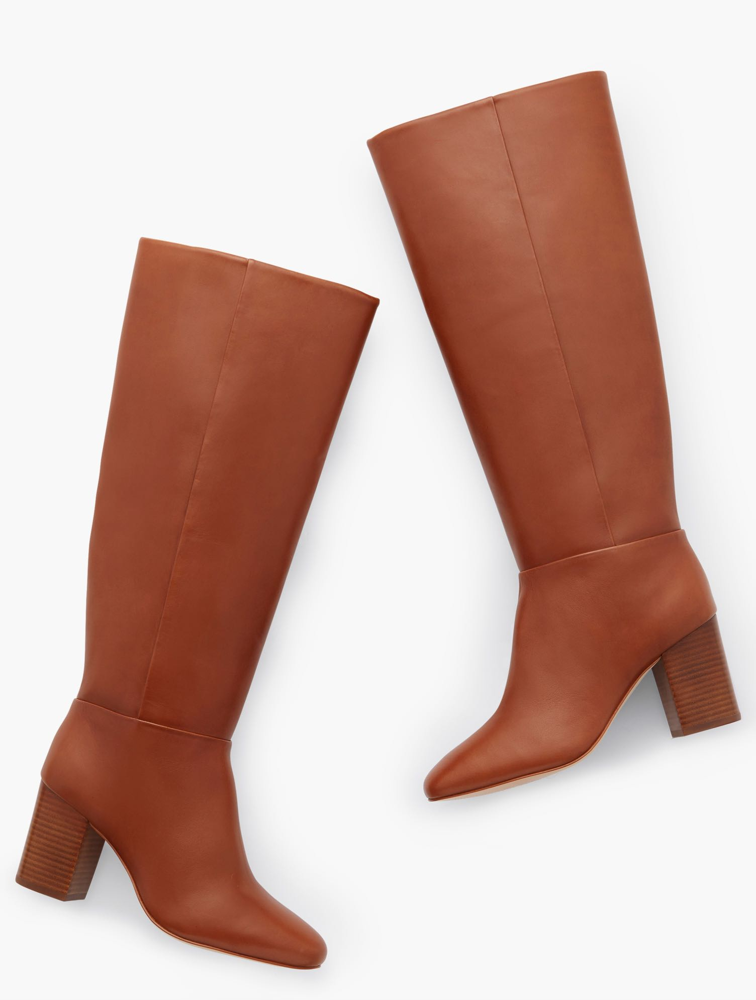 Our Darcy Tall Boots in luxurious Nappa leather look great dressed up or down. Also available in Extended Calf. Features 3MM Memory foam footbed 3 inches heel Round Toe Imported Material: 100% Leather Darcy Tall Nappa Boots - Cognac - 11M Talbots