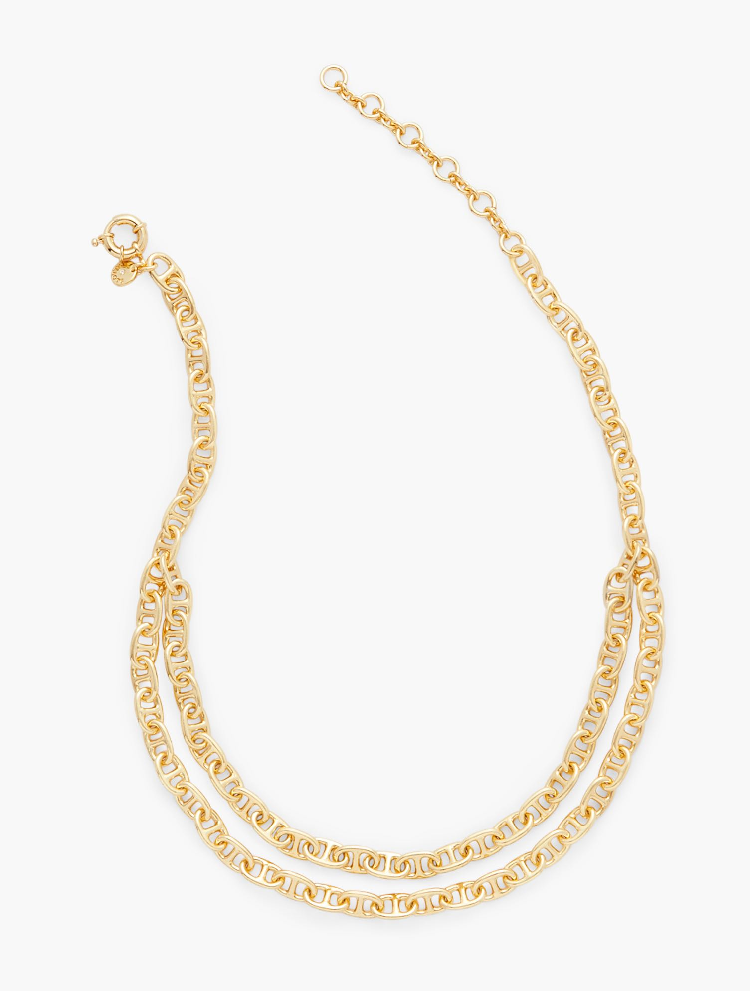 Our Double Chain Necklace in gold. A timeless, goes-with-everything classic. Features Clasp: Spring RingImported Fit: 18 inches+ 3 inches Extender Material: 99% Brass, 1% CZ Double Chain Necklace - Gold - 001 Talbots