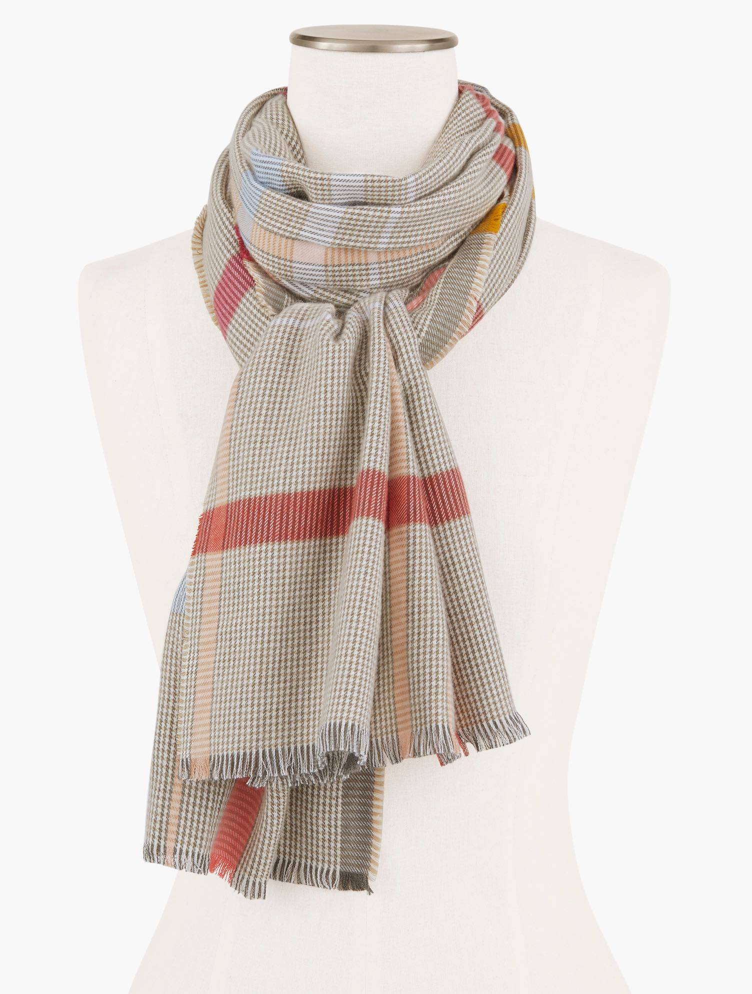 Wrap yourself in cozy warmth with our plaid oblong scarf. The perfect layer when there\\\'s a chill in the air. Features Oblong ScarfImported Fit: 27x72 inches Material: 54% Cotton, 46% Viscose Care: Hand Wash, Line Dry Cozy Plaid Oblong Scarf - Ivory - 001 - 100% Cotton Talbots