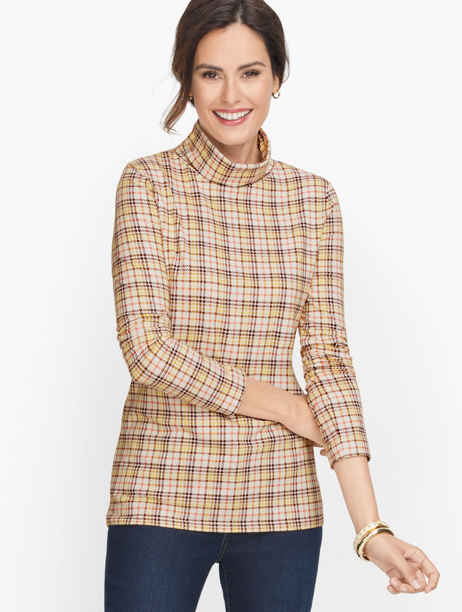 Our coziest turtleneck, in houndstooth print. Crafted from pure cotton with a touch of spandex. Features Neckline: TurtleSleeve length: LongHits: At hipImported Fit: Misses: 25 inches; Petite: 24 inches, Plus: 27 inches, Plus Petite:25.5 inches Material: 95% Cotton, 5% Spandex Care: Machine Wash, Tumble Dry Cotton Turtleneck - Houndstooth - Ivory - 3X Talbots