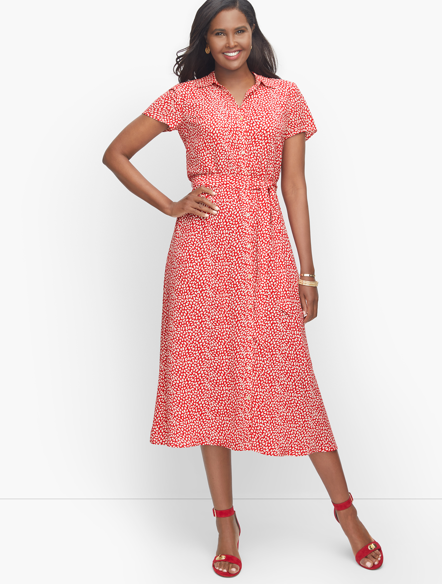1930s Style Clothing and Fashion Leopard Tie-Waist Midi Dress - RedWhite - 24 Talbots $119.99 AT vintagedancer.com