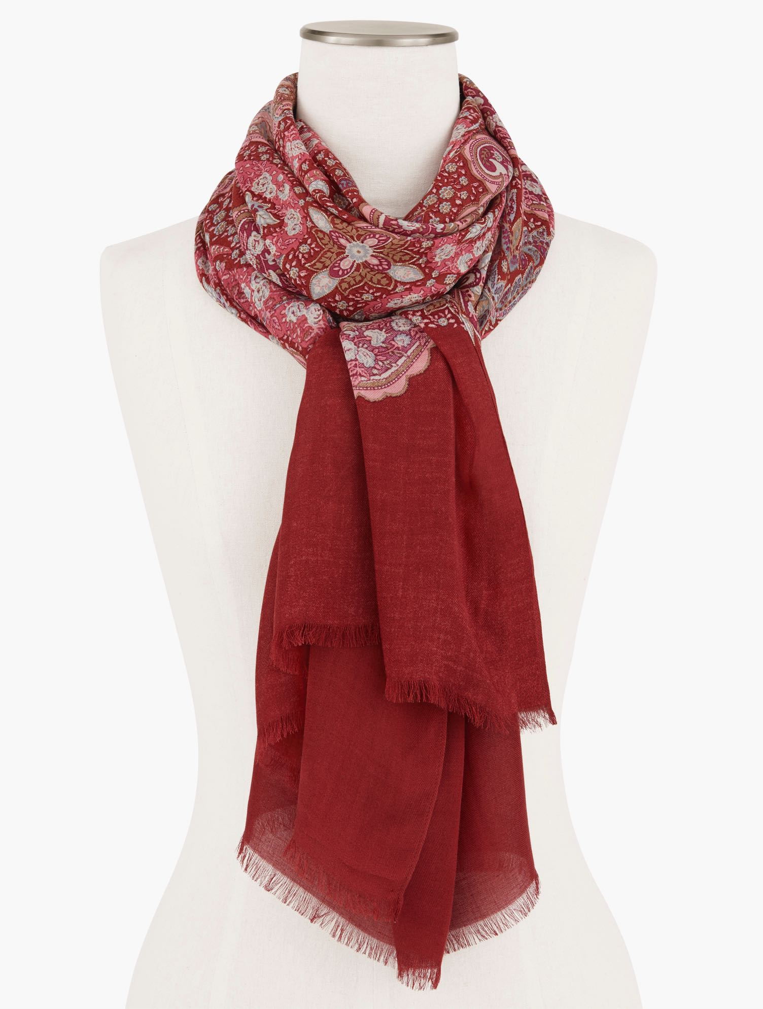 Crafted from silk and modal. In pretty paisley. The perfect accent. Features Oblong ScarfImported Fit: 27x72 inches Material: 70% Modal, 30% Silk Care: Dry Clean Flourish Paisley Oblong Scarf - Rosewood - 001 Talbots