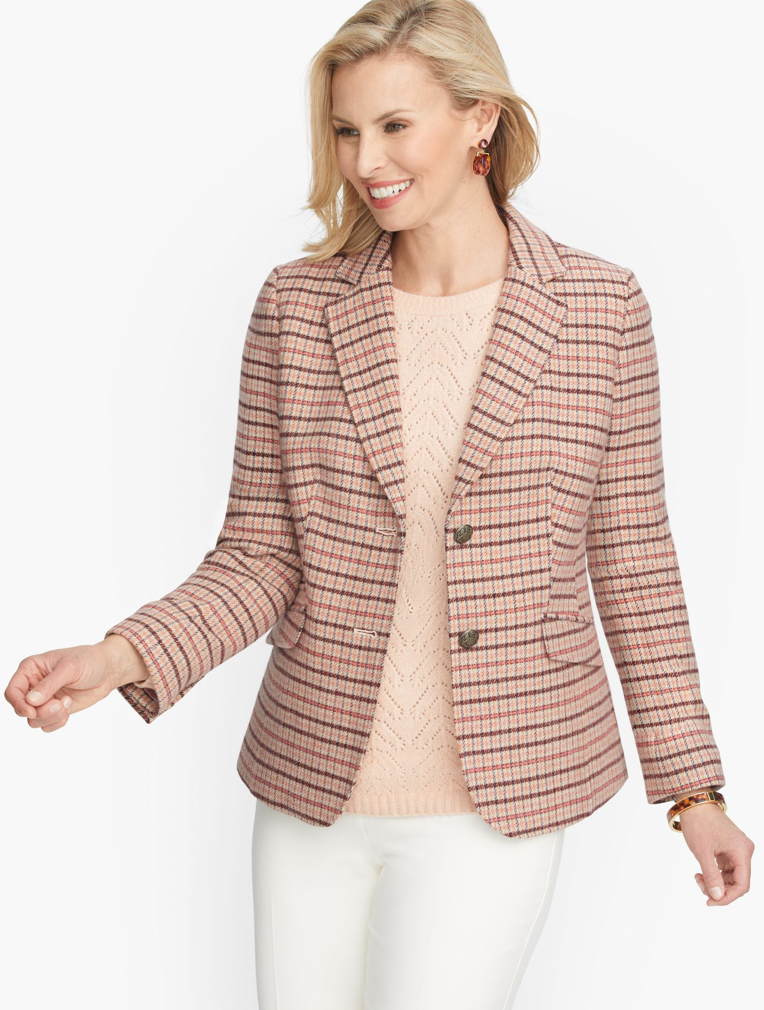 1940s Style Coats and Jackets for Sale Classic Shetland Blazer - Plaid - Coral Gourd - 22 Talbots $219.00 AT vintagedancer.com