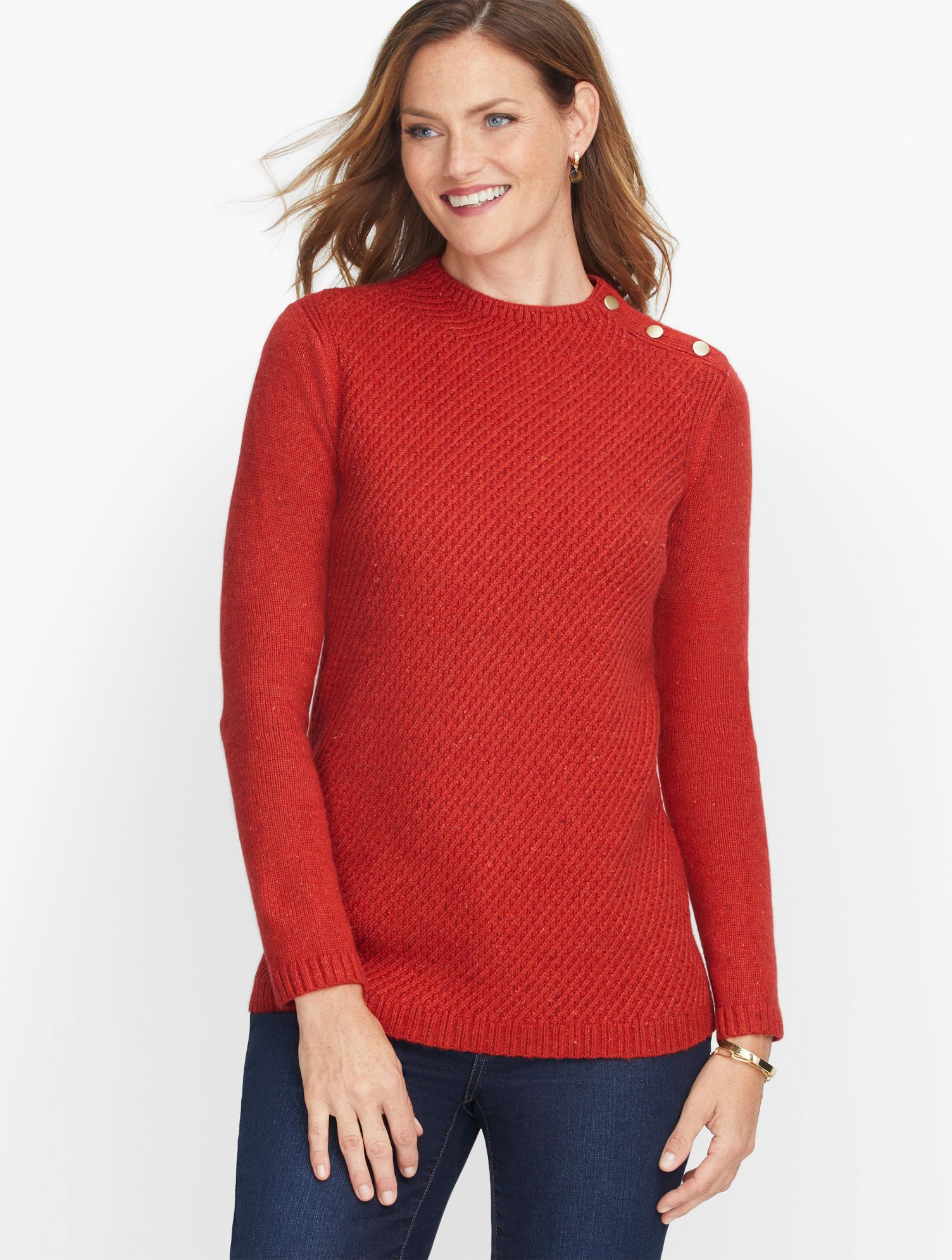 The mockneck sweater. An iconic silhouette. Buttons at the shoulder. Crafted from super soft heathered yarns. Texture with a twist. It\\\'s sweater weather. Features Neckline: Mock Sleeve length: Long Hits: At hip Closure: Pullover Imported Fit: Misses: 26 1/2 inches; Petite: 25 1/2 inches, Plus: 28 ½\\\