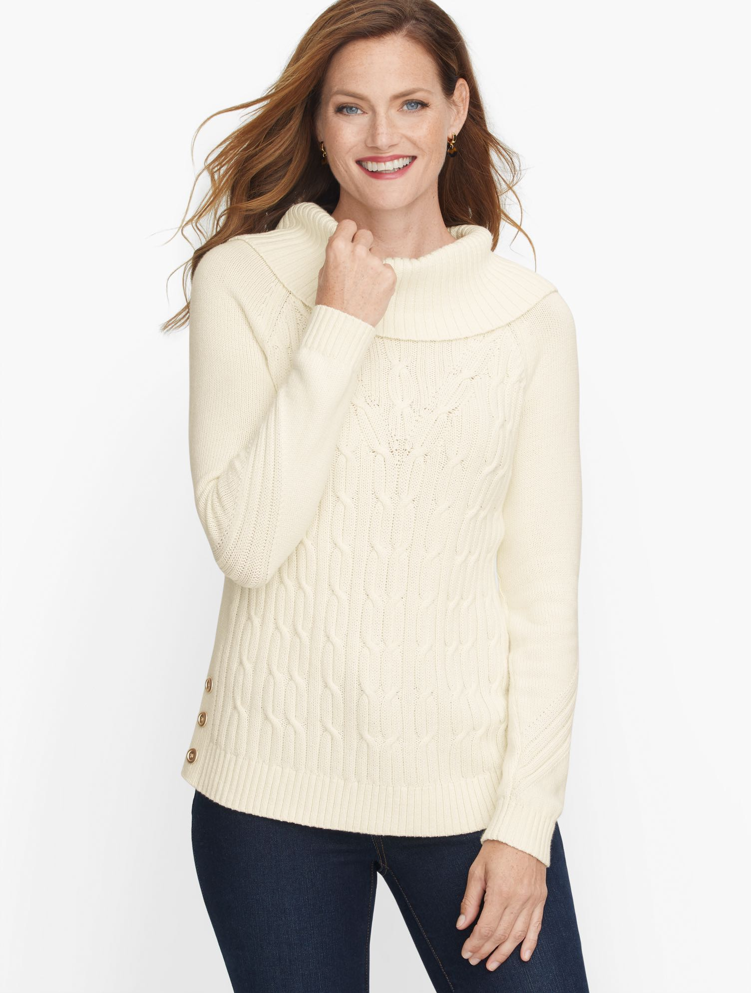 Sumptuous cowl neck turns up the coziness of our cable sweater. Button detail at side. Perfect for long walks or lounging at home. Features Neckline: CowlSleeve length: LongHits: At hipClosure: PulloverImported Fit: Misses: 25 1/2 inches; Petite: 24 1/2 inches Material: 100% Cotton Care: Machine Wash; Reshape, lay flat to dry Cotton Cowlneck Sweater - Solid - Ivory - XL Talbots