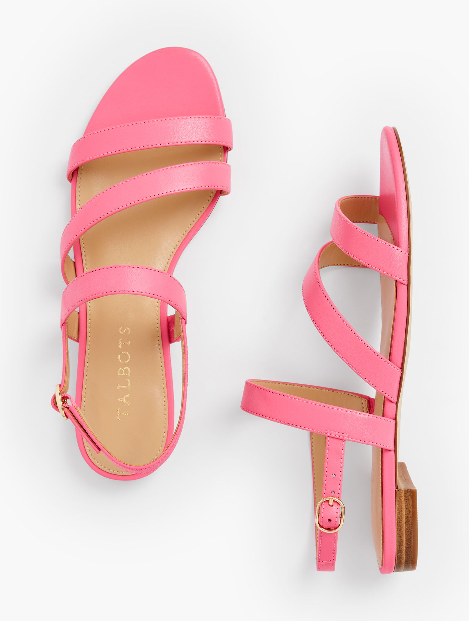 Easy elegance. Our Keri multi-strap sandals were made to be worn dressy or casual. Features Gift Box/Gift Wrap is not available for this item 1/2 inches heel Flexible Non Skid Outsole 9k Shiny Gold Hardware 3Mm Memory Foam Footbed Imported Material: 100% Leather Keri Multi Strap Sandals - Nappa - Geranium Pink - 9M Talbots