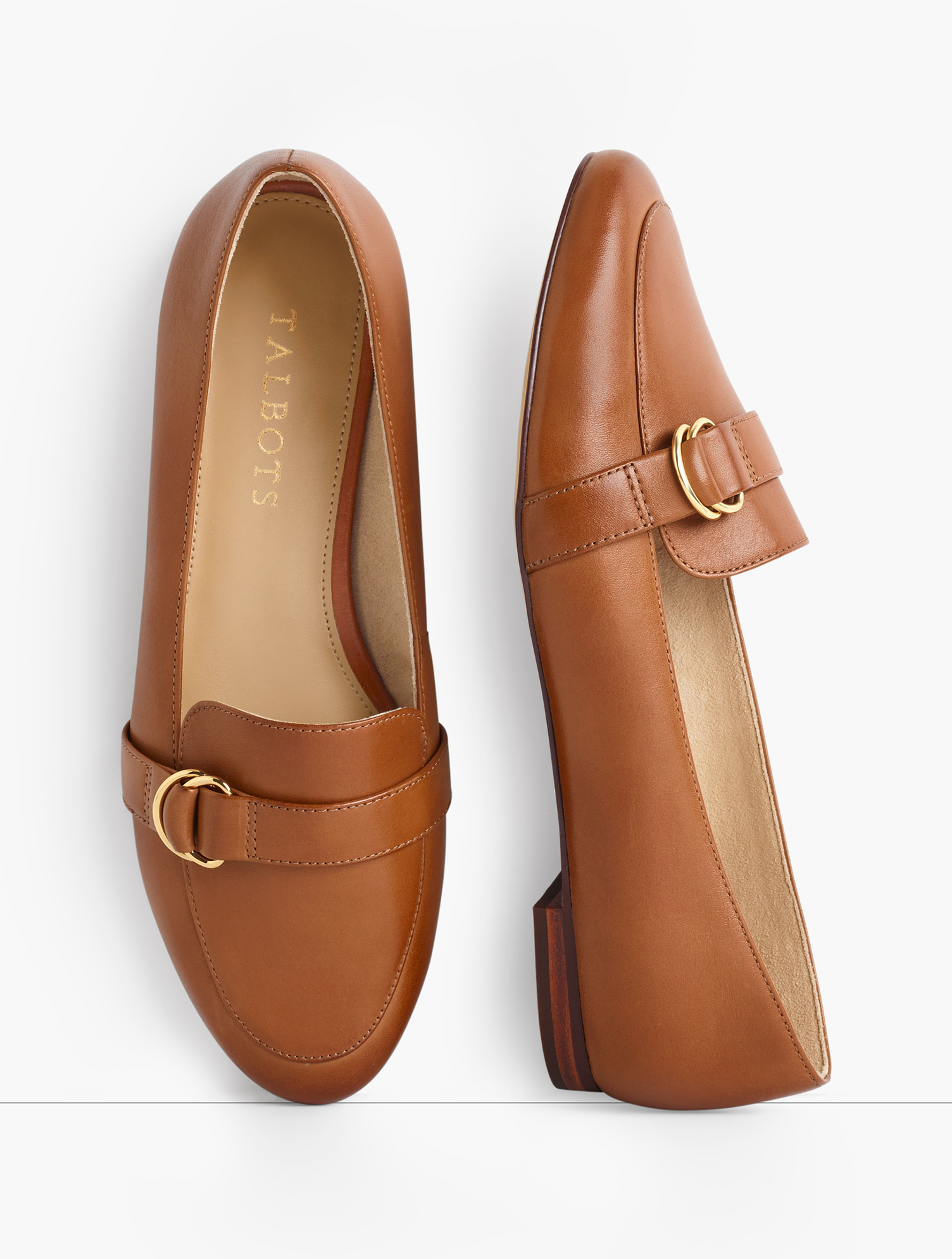 Our iconic Ryan loafers. Elegant, essential, extraordinarily comfortable. Rendered in fashionable leather, with gold D-ring detail. Features Gift Box/Gift Wrap is not available for this item Flat heel Round toe 3MM Memory foam footbed Imported Material: 100% Leather Ryan D-Ring Loafers - Leather - Pecan Brown - 9-1/2M Talbots