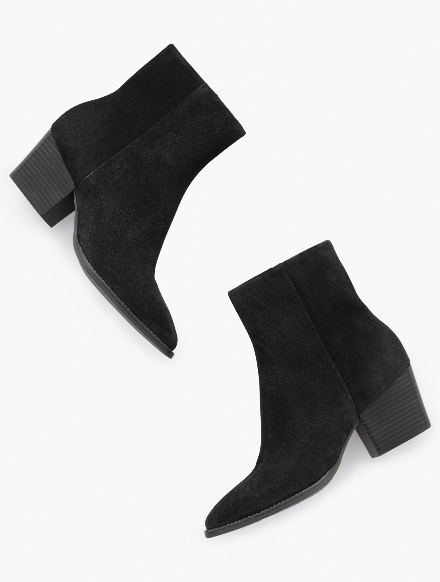 Our Jayla Ankle Boots. Classic and versatile, in sumptuous suede. Features Gift Box/Gift Wrap is not available for this item 3MM Memory foam footbed 2 1/4 inches heel Western Boot Almond Toe Closure: Side Zipper Imported Material: 100% Leather Jayla Suede Ankle Boots - Black - 11M Talbots