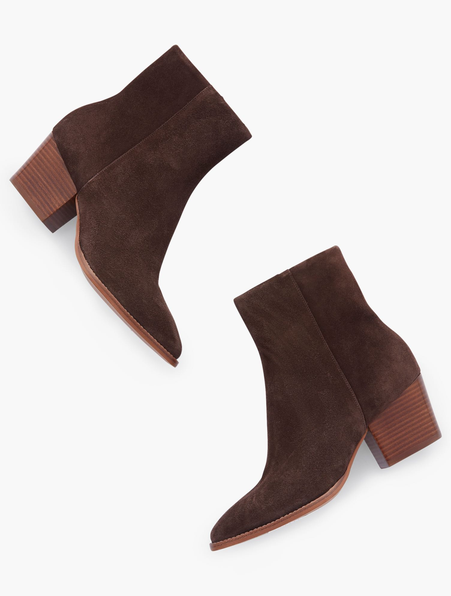 Our Jayla Ankle Boots. Classic and versatile, in sumptuous suede. Features Gift Box/Gift Wrap is not available for this item 3MM Memory foam footbed 2 1/4 inches heel Western Boot Almond Toe Closure: Side Zipper Imported Material: 100% Leather Jayla Suede Ankle Boots - Chocolate - 11M Talbots