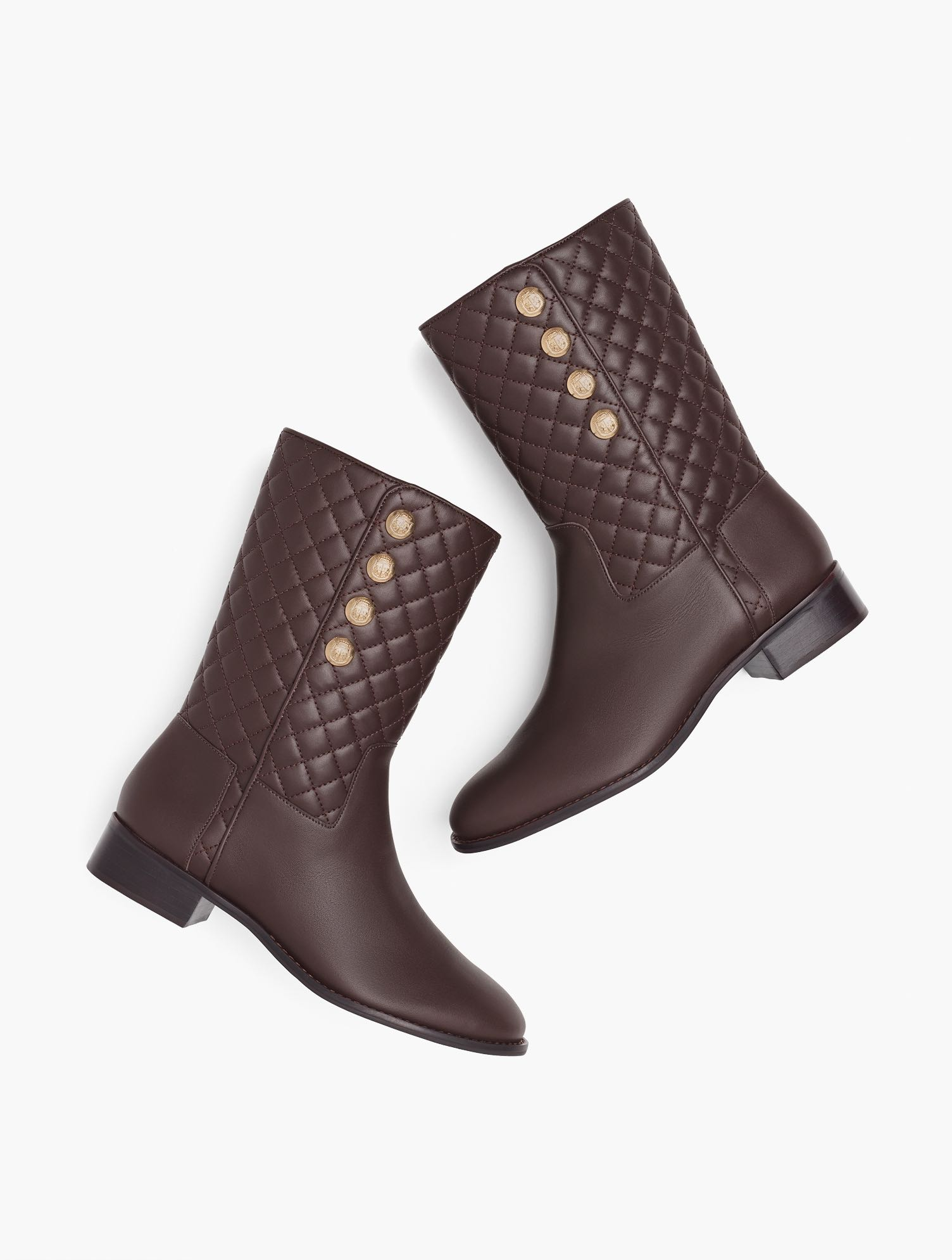 Simply classic. Tish mid-calf boots in Vachetta leather. Featuring easy side zip styling and chic gold button detail. Features Gift Box/Gift Wrap is not available for this item Round toe Side Zip 1.25 inches heel Non-skid sole 3Mm Memory Foam Imported Material: 100% Leather Tish Quilted Mid-Calf Boots - Vachetta - Chocolate - 11M Talbots