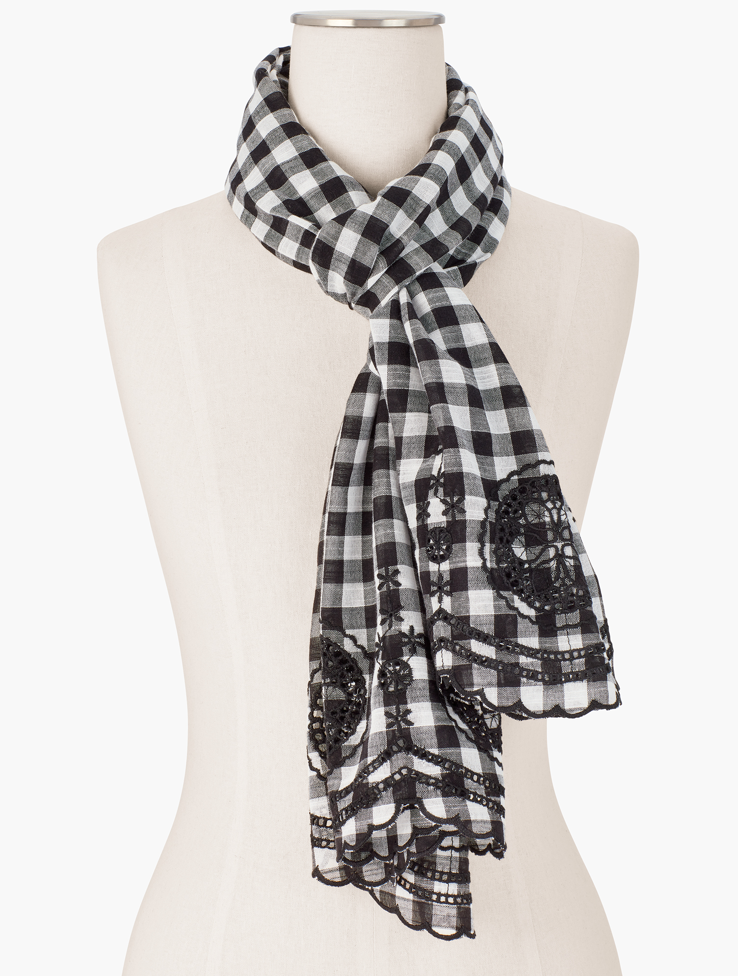 Classic gingham check elevates any outfit. Elegant embroidery completes the look. Features Imported Fit: 27 inches X 72 inches Material: 100% Cotton Care: Hand Wash; Line Dry Gingham Eyelet Oblong Scarf - Ivory - 001 - 100% Cotton Talbots