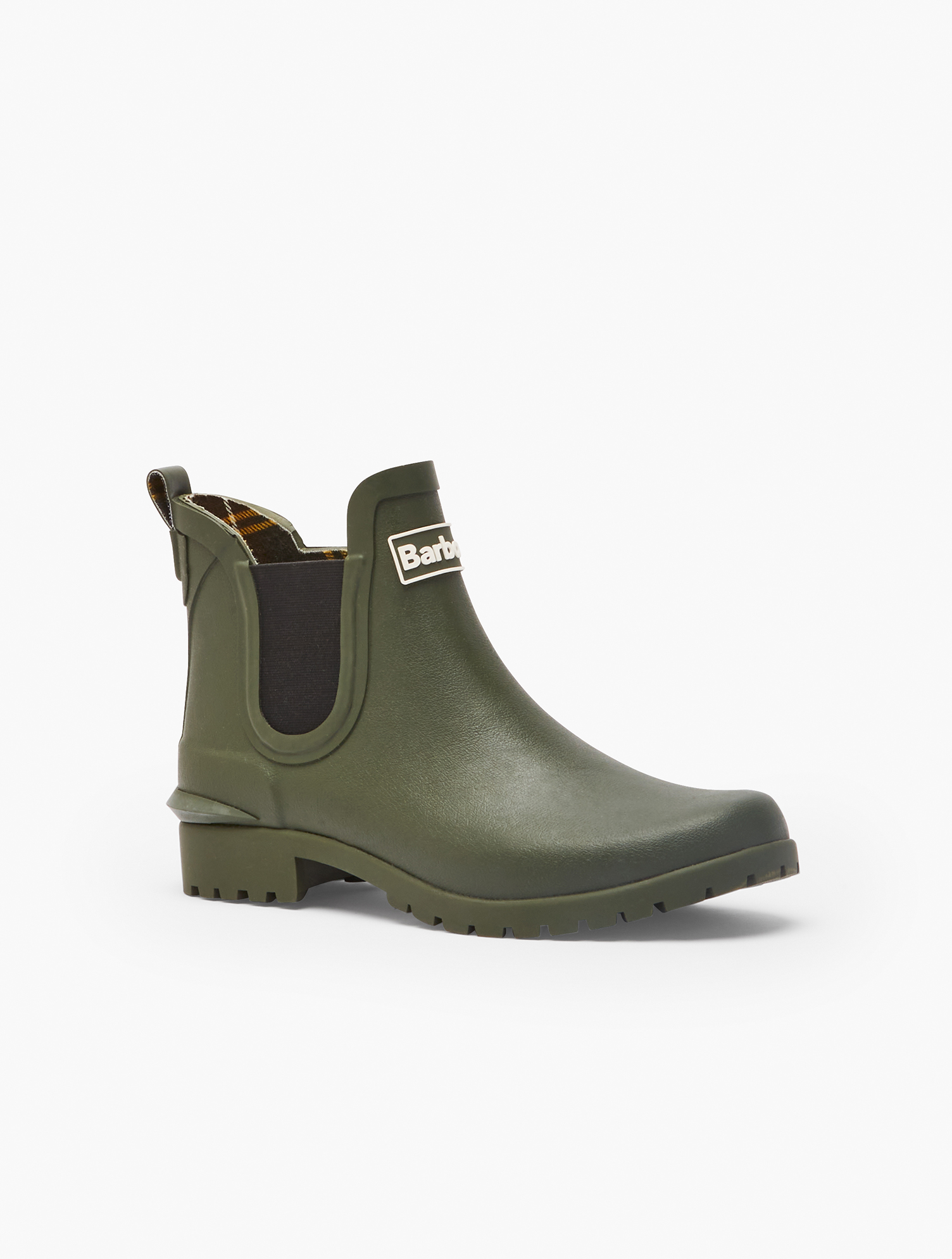 Barbour® Wilton Wellies for Talbots. Tightly waterproofed outside, softly cushioned inside. With easy pull-on loop styling. Features Round toe Waterproof Cushion Insole Material: 100% Rubber Barbour® Wilton Wellington Rain Boots - Olive - 11M Talbots