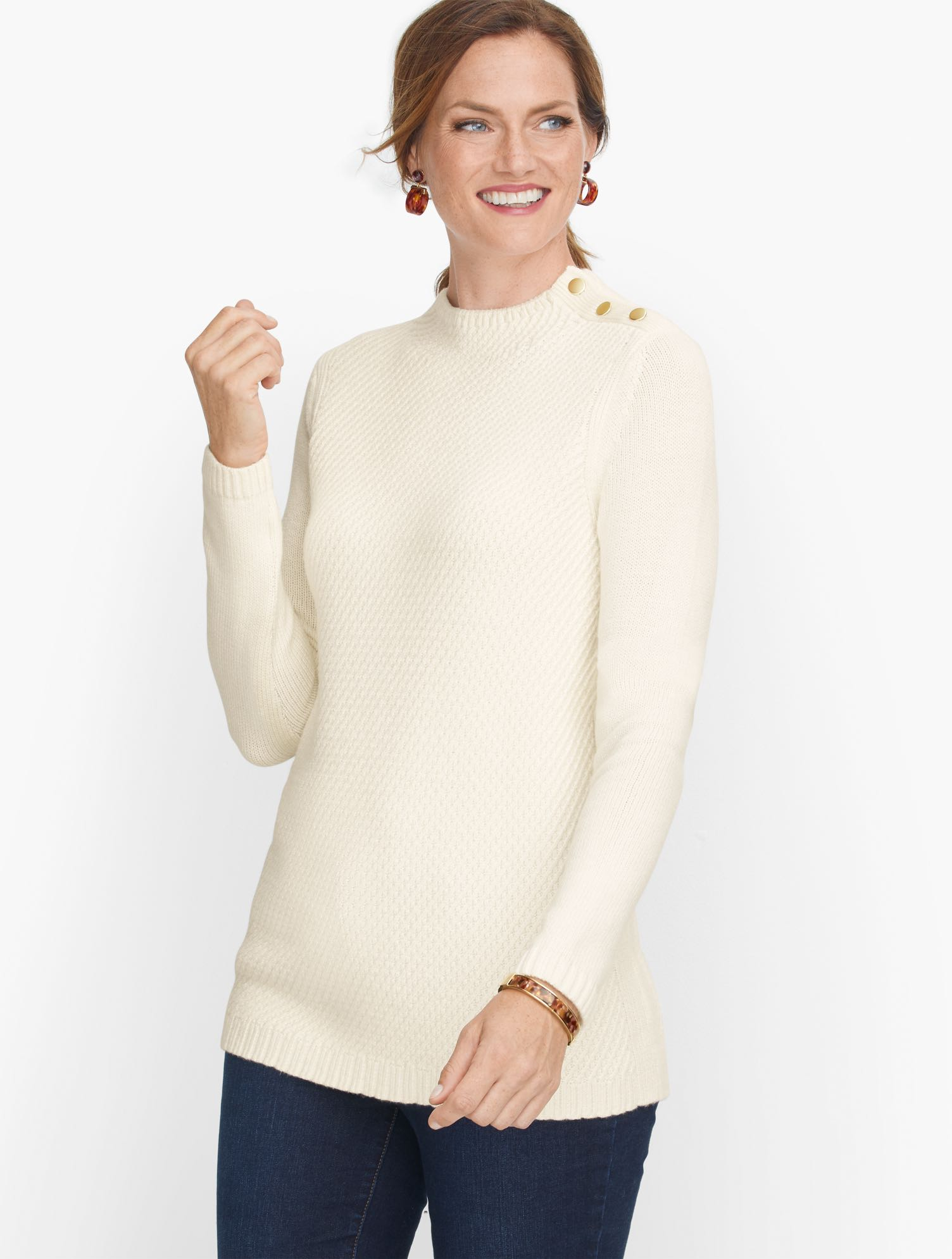The mockneck sweater. An iconic silhouette. Buttons at the shoulder. Crafted from super soft yarns. Texture with a twist. It\\\'s sweater weather. Features Neckline: MockSleeve length: LongHits: At hipClosure: PulloverImported Fit: Misses: 26 1/2 inches; Petite: 25 1/2 inches Material: 57% Cotton, 28% Acrylic, 15% Polyester Care: Hand Wash; Reshape, lay flat to dry Mockneck Cotton Blend Sweater - Solid - Ivory - XL Talbots