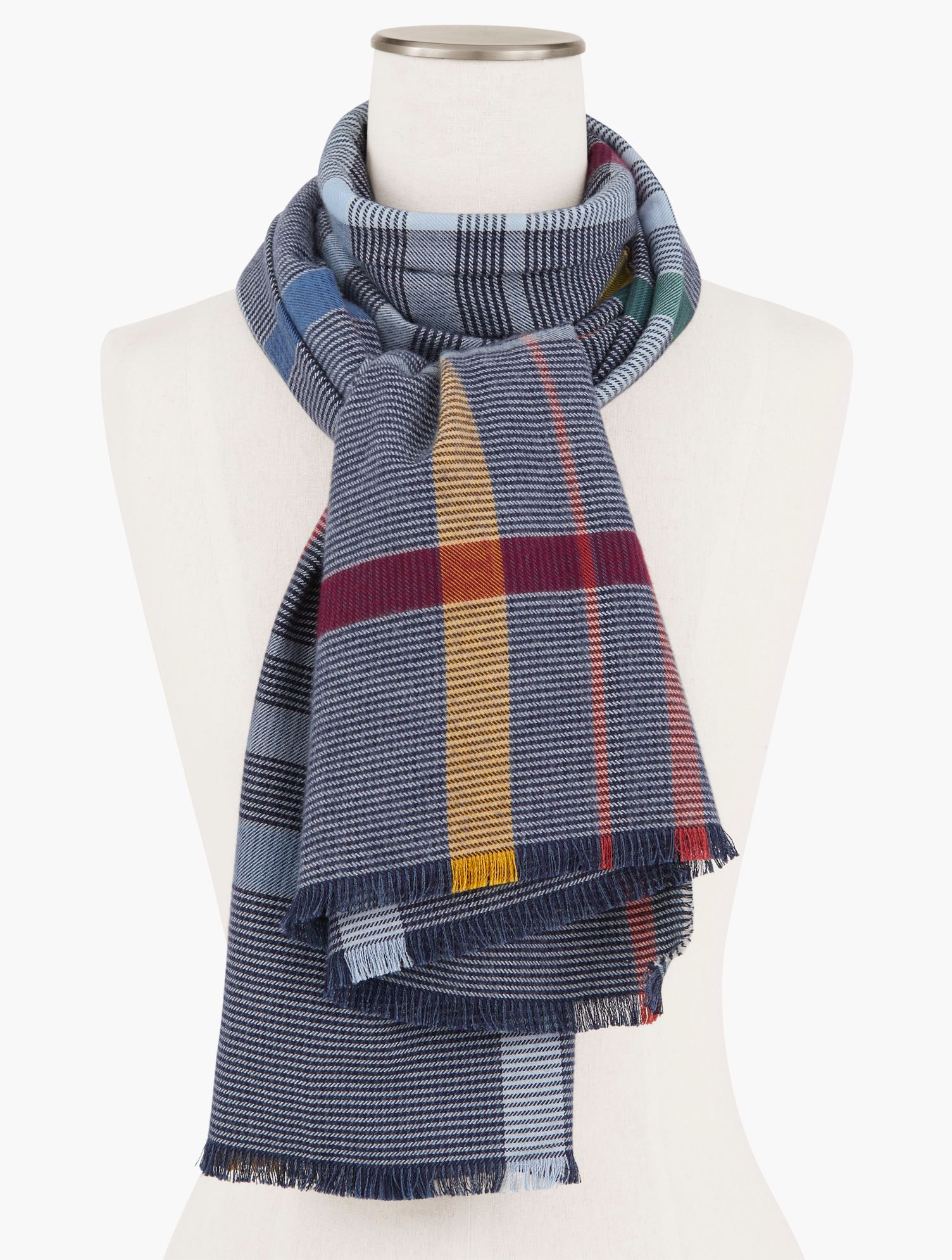 Wrap yourself in cozy warmth with our plaid oblong scarf. The perfect layer when there\\\'s a chill in the air. Features Oblong ScarfImported Fit: 27x72 inches Material: 54% Cotton, 46% Viscose Care: Hand Wash, Line Dry Cozy Plaid Oblong Scarf - Blue - 001 - 100% Cotton Talbots