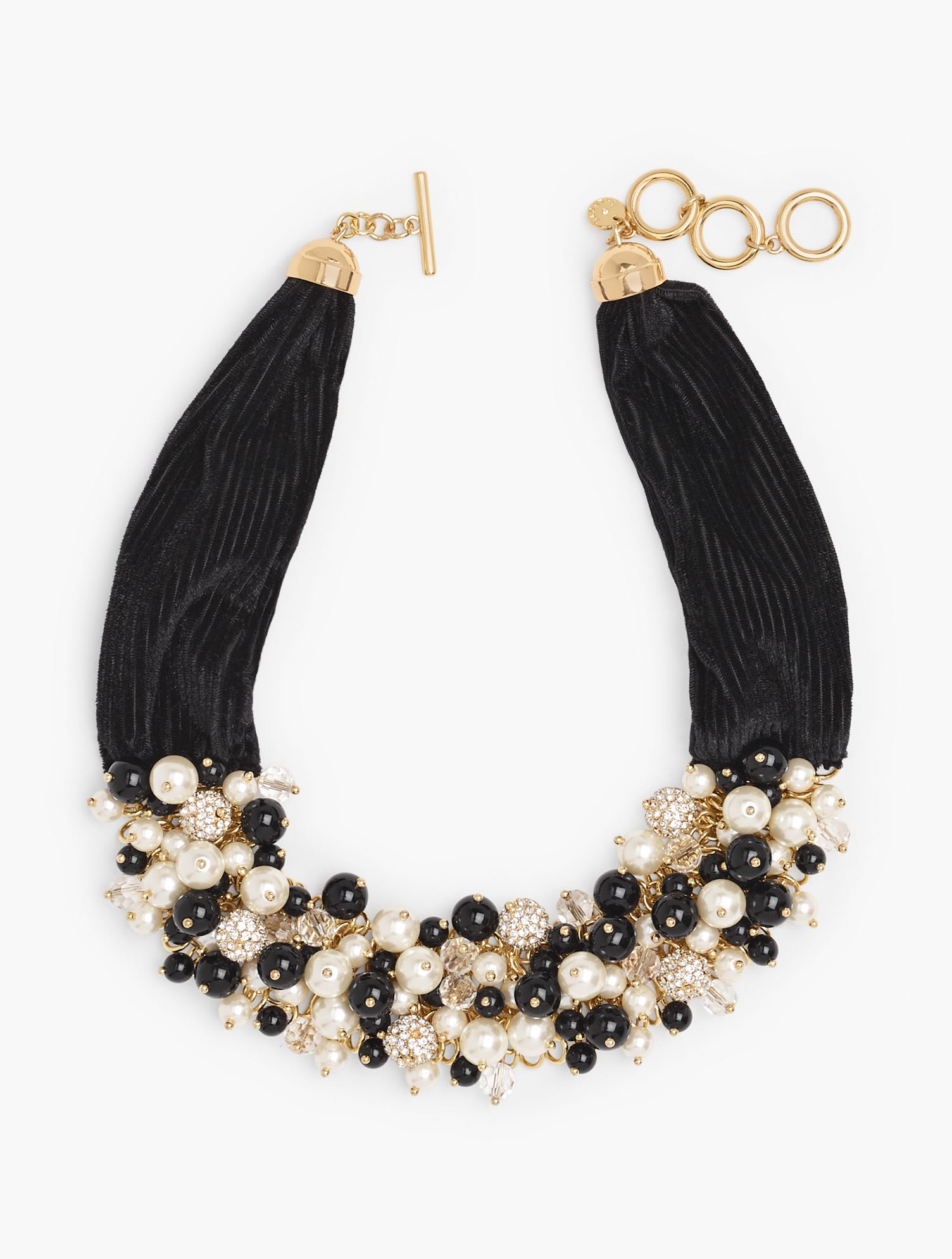 Clusters of shimmering glass beads, lustrous pearls and glittering pavé orbs are showcased against a strand of velvet. Features Closure: Lobster Imported Fit: 18 inches + 3 inches Material: 39% Glass, 25% Steel, 15% Acrylic, 15% Zinc, 5% Brass, 1% CZ Velvet Statement Necklace - Black - 001 Talbots