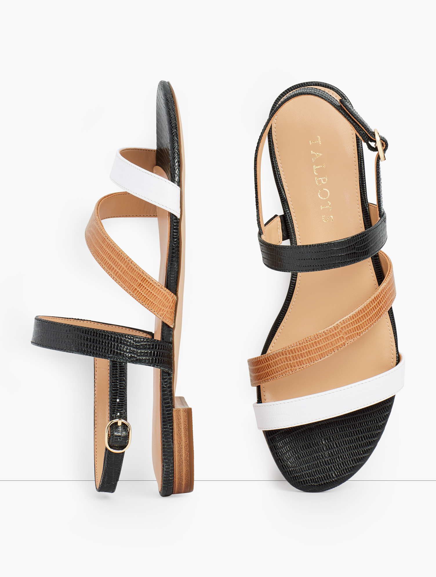 Our Keri Multi Strap Sandals. Ultra chic. Ultra comfortable. With memory foam footbed. Features Gift Box/Gift Wrap is not available for this item 1/2 inches heel Flexible Non Skid Outsole 9k Shiny Gold Hardware 3Mm Memory Foam Footbed Imported Material: 100% Leather Keri Multi Strap Sandals - White Havana Tan/Black - 11M Talbots