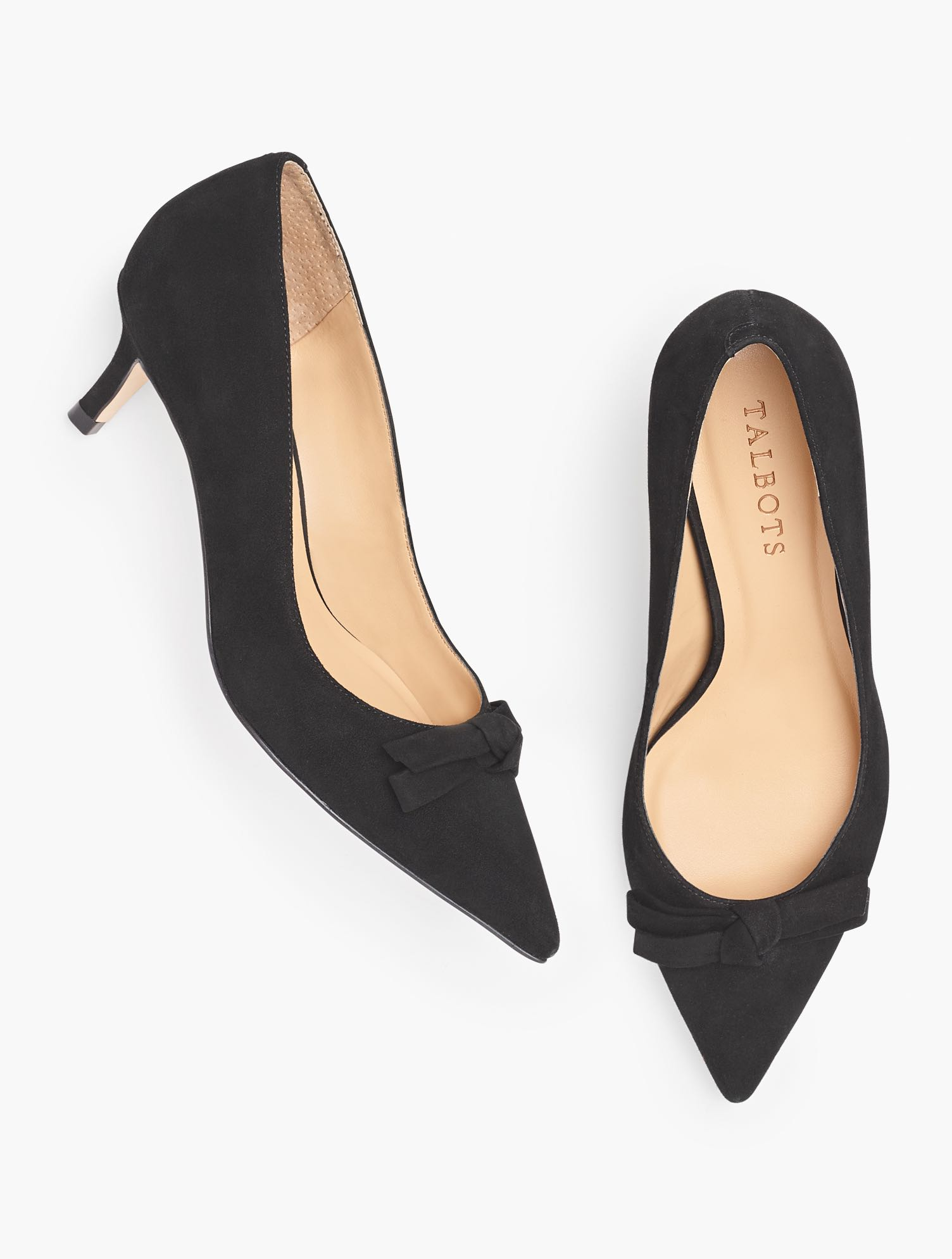 The Erica, with a two-inch kitten heel and an elegant bow at vamp. In supple suede. Features Gift Box/Gift Wrap is not available for this item Pointy toe 2 inches heel 3Mm Memory Foam Imported Material: 100% Leather Erica Bow Detail Kitten Heel Pumps - Suede - Black - 11M Talbots