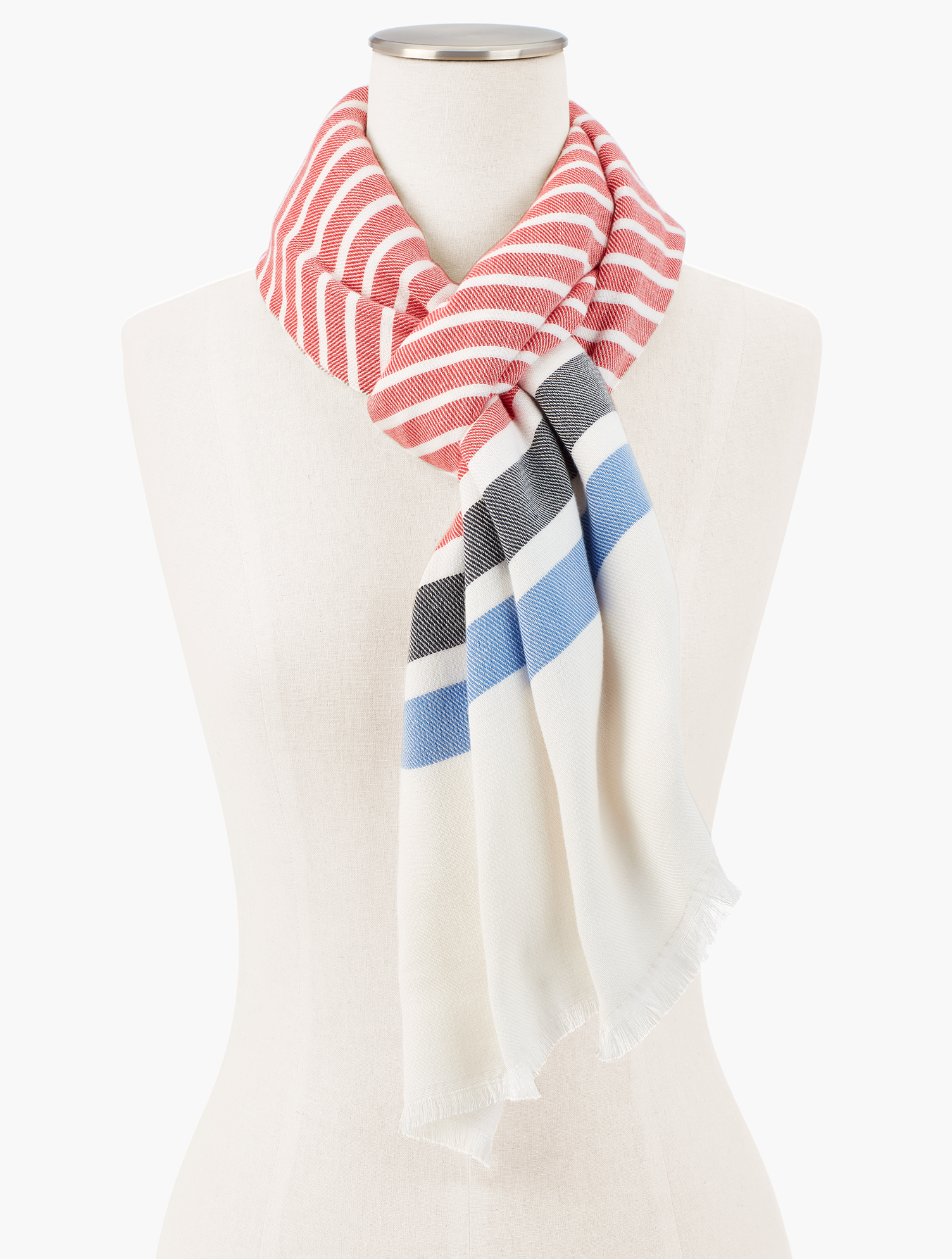 Stripes and a pop of color, This oblong scarf has endless styling possibilities. features Imported Fit: 27 inches X 72 inches Material: 52% cotton; 48% modal Care: Hand wash; Line dry Stripe Oblong Scarf - Bright Apple - 001 Talbots
