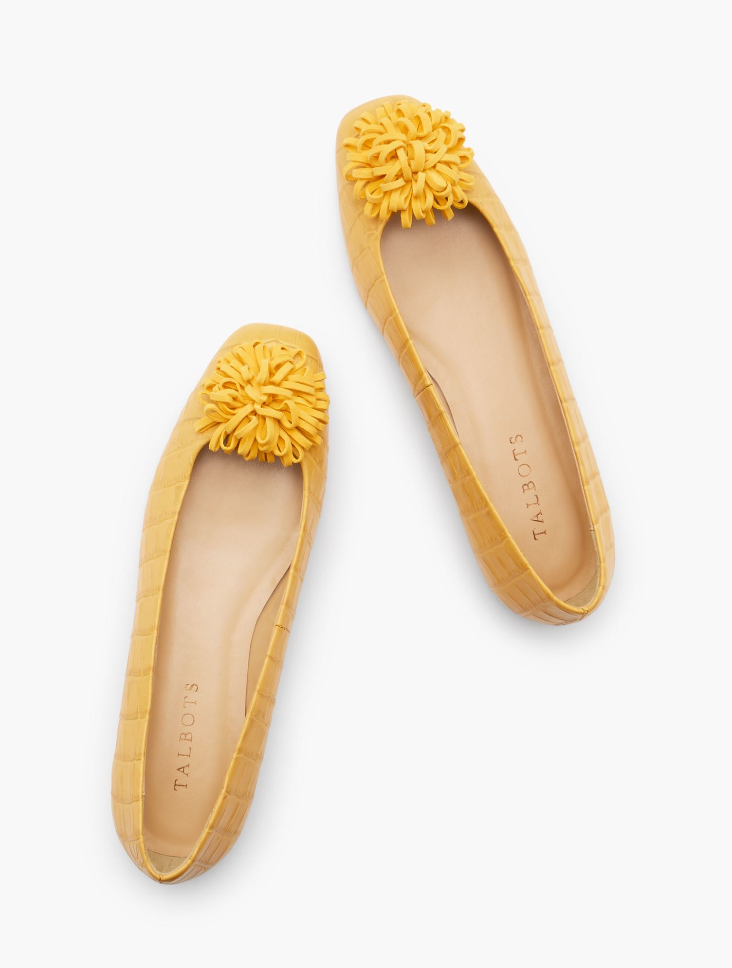 Retro Vintage Flats and Low Heel Shoes Stella Pom Pom Flats - Embossed Croc - Golden Apricot - 11M Talbots $54.99 AT vintagedancer.com
