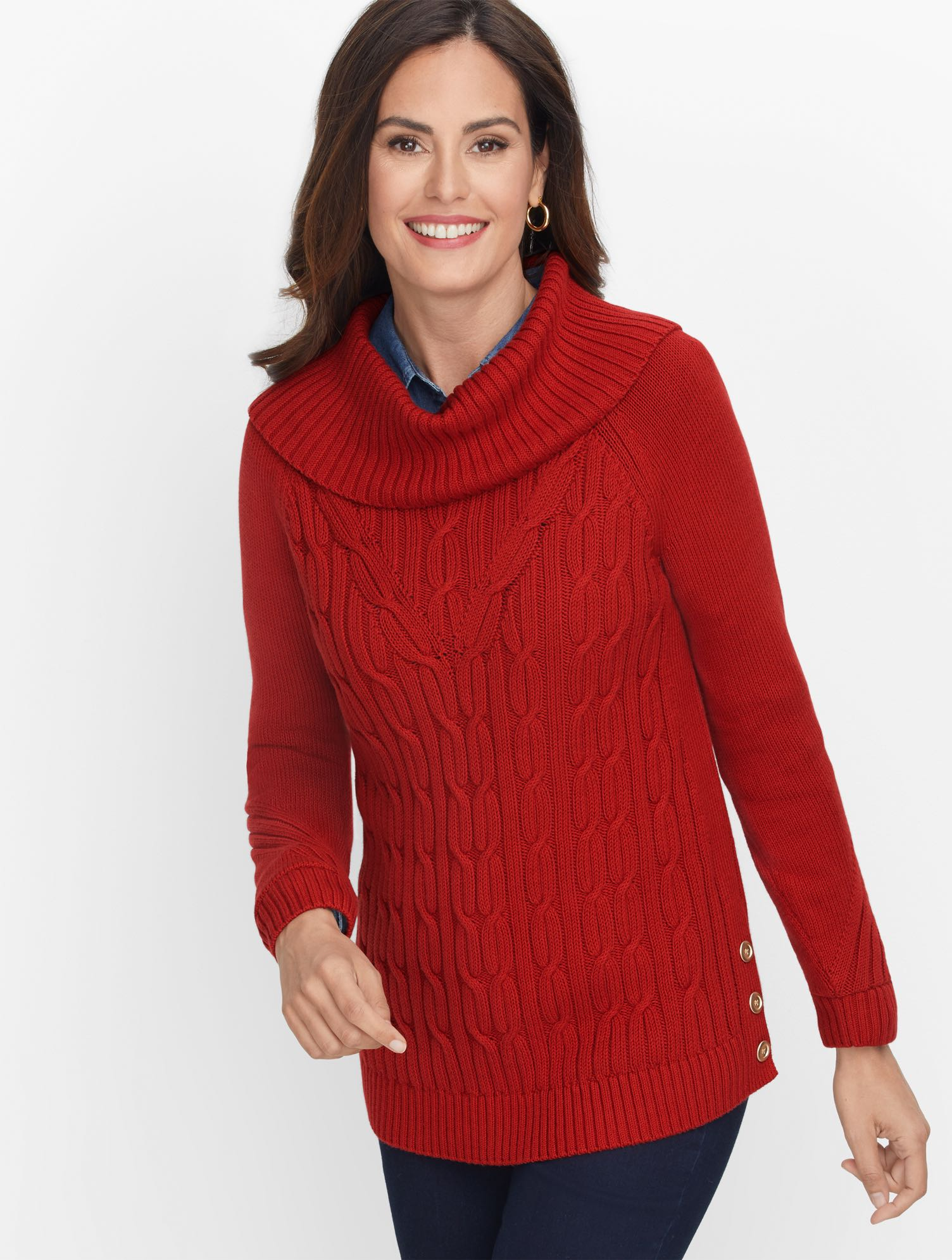 Sumptuous cowl neck turns up the coziness of our cable sweater. Button detail at side. Perfect for long walks or lounging at home. Features Neckline: CowlSleeve length: LongHits: At hipClosure: PulloverImported Fit: Misses: 25 1/2 inches; Petite: 24 1/2 inches Material: 100% Cotton Care: Machine Wash; Reshape, lay flat to dry Cotton Cowlneck Sweater - Solid - Rich Russet - XL Talbots