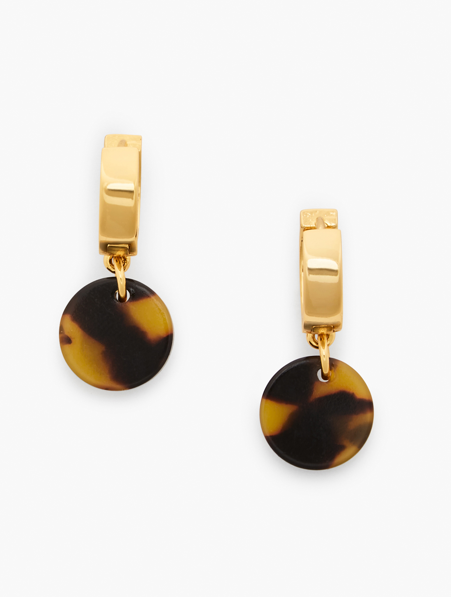Our Tortoise Disk earrings. Pair with our Tortoise Link Statement Necklace. Features Clasp: Post Imported Fit: 1 1/2 inches Material: 65% Brass, 34% Acetate, 1% CZ Tortoise Disk Earrings - Tortoise/Gold - 001 Talbots