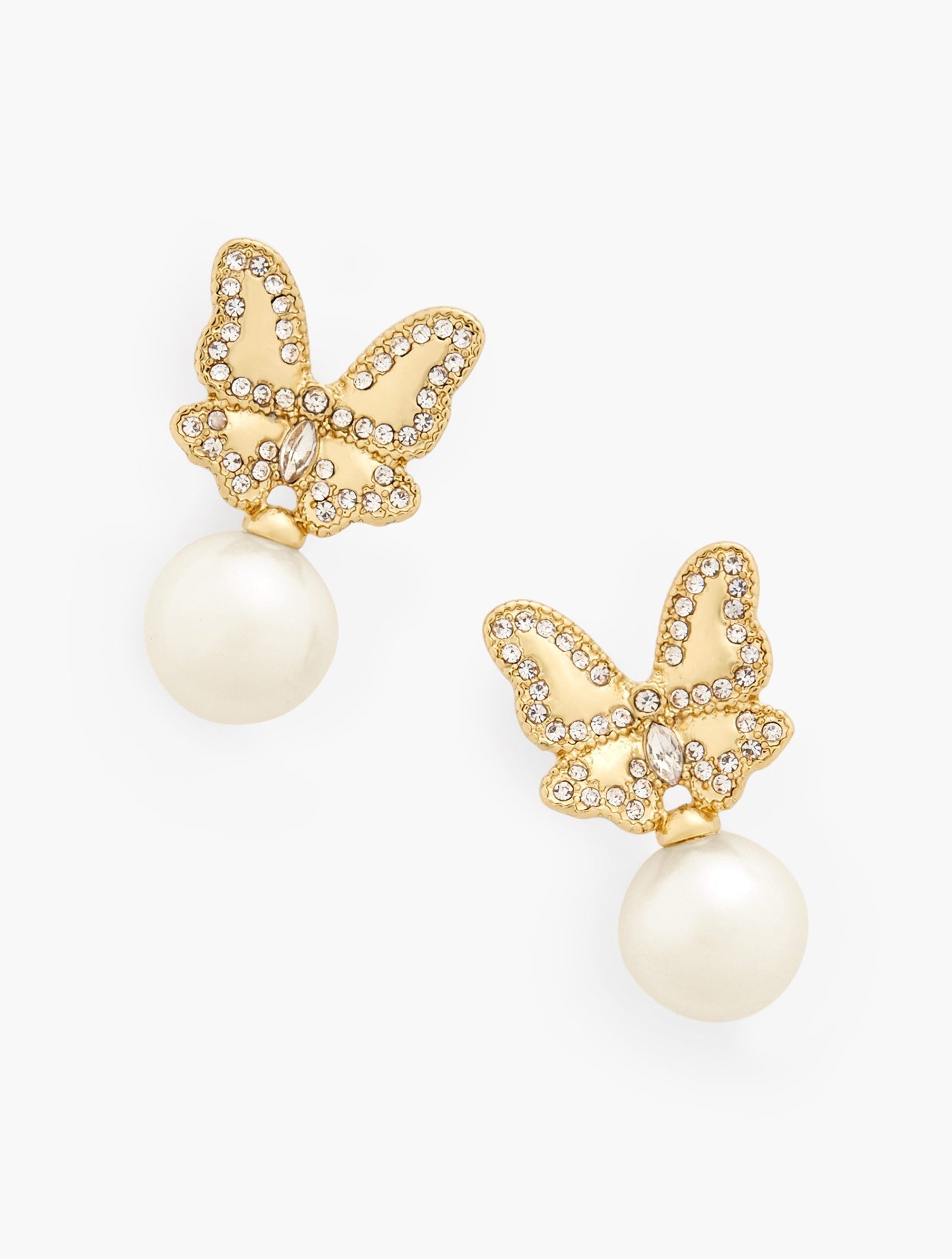 Delicate butterflies atop lustrous pearls. Add our Butterfly Pendant or Butterfly Brooch to complete your look. Features Clasp: Post Imported Fit: 1 1/2 inches Drop Material: 50% Zinc, 49% Glass, 1% CZ Butterfly Pearl Earrings - Ivory - 001 Talbots