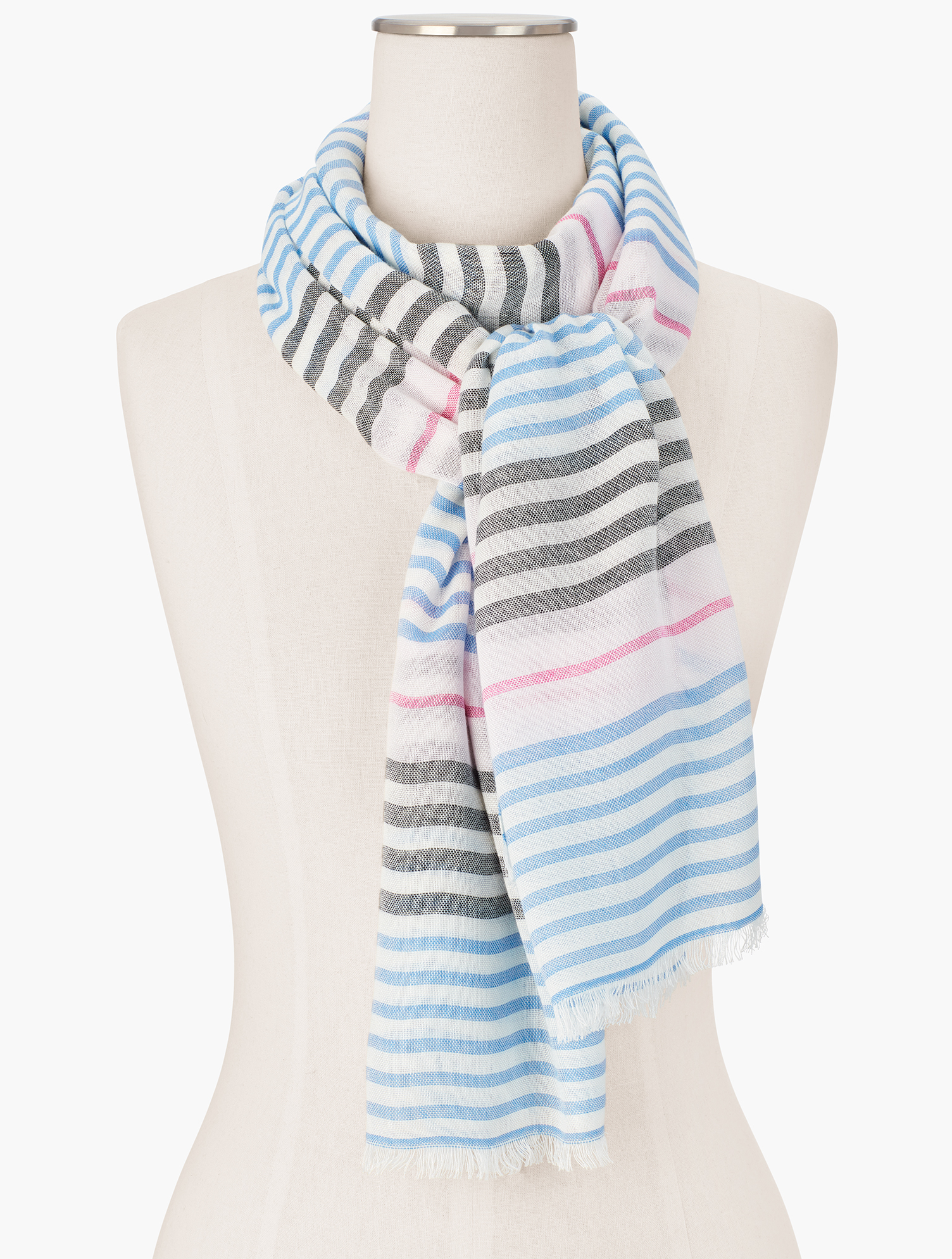 Lightweight and fresh. Welcome spring in an array of beautiful stripes. Features Imported Fit: 27 inches X 72 inches Material: 100% Cotton Care: Hand Wash; Line Dry Variegated Stripes Oblong Scarf - Ivory - 001 Talbots